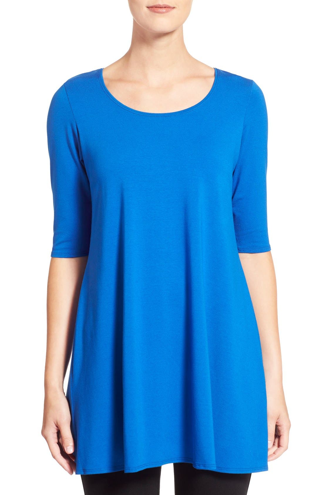 Scoop Neck Elbow Sleeve Jersey Tunic,                             Main thumbnail 13, color,