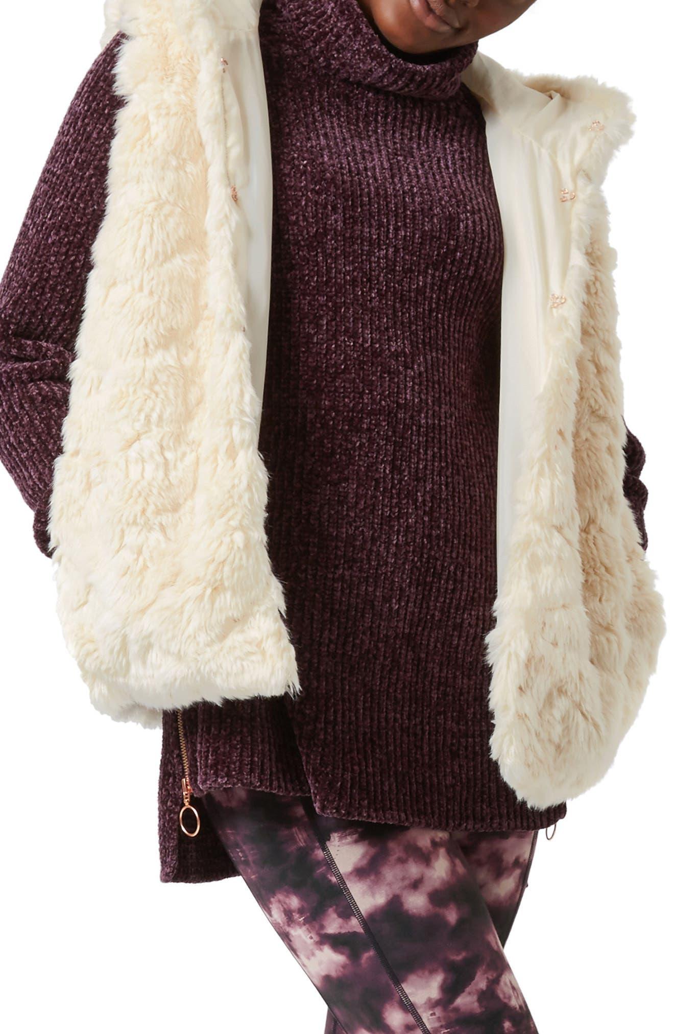 Faux Fur Hooded Vest,                         Main,                         color, OATMEAL