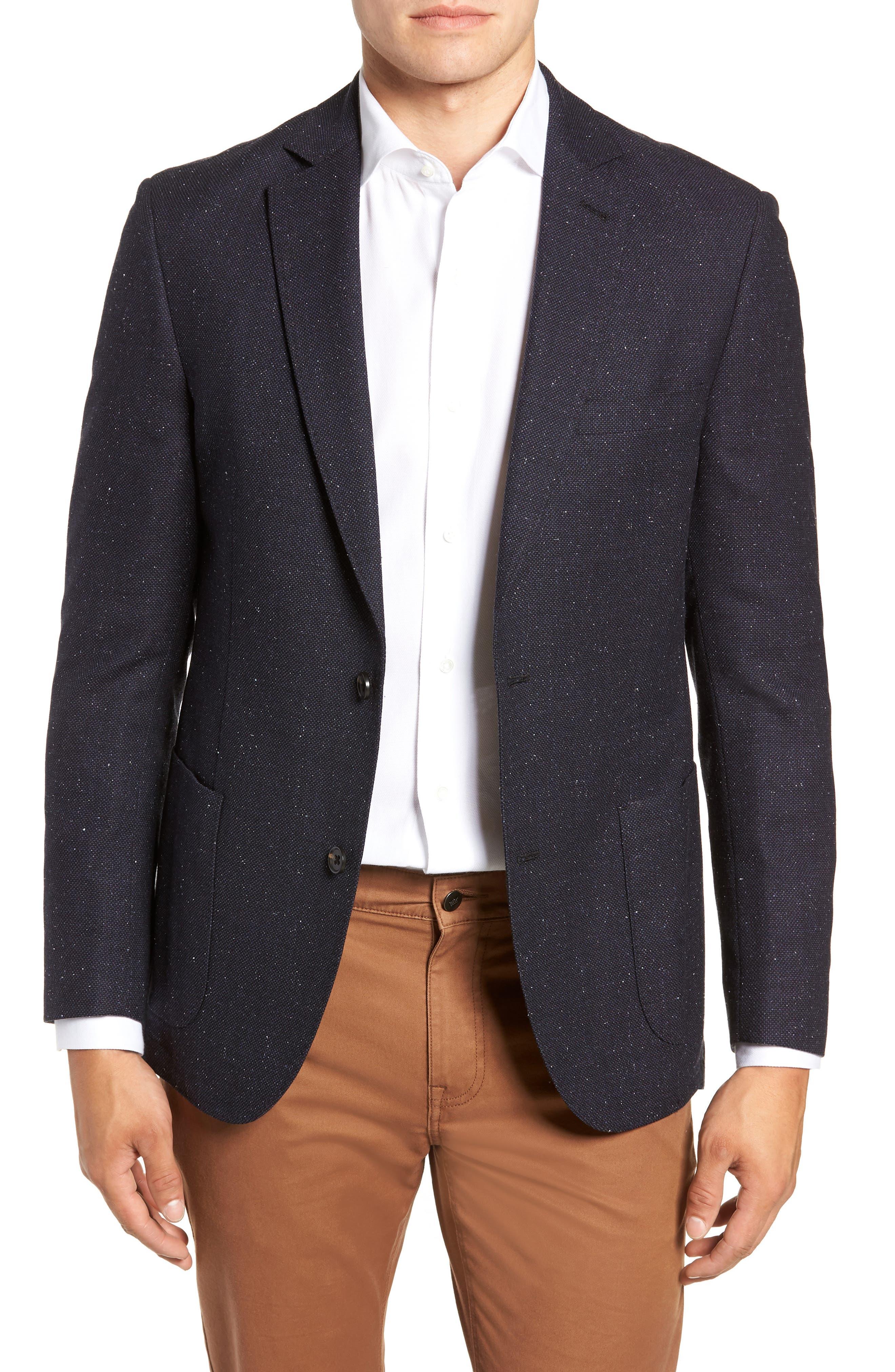 Regular Fit Wool & Silk Blazer,                         Main,                         color, BLUE