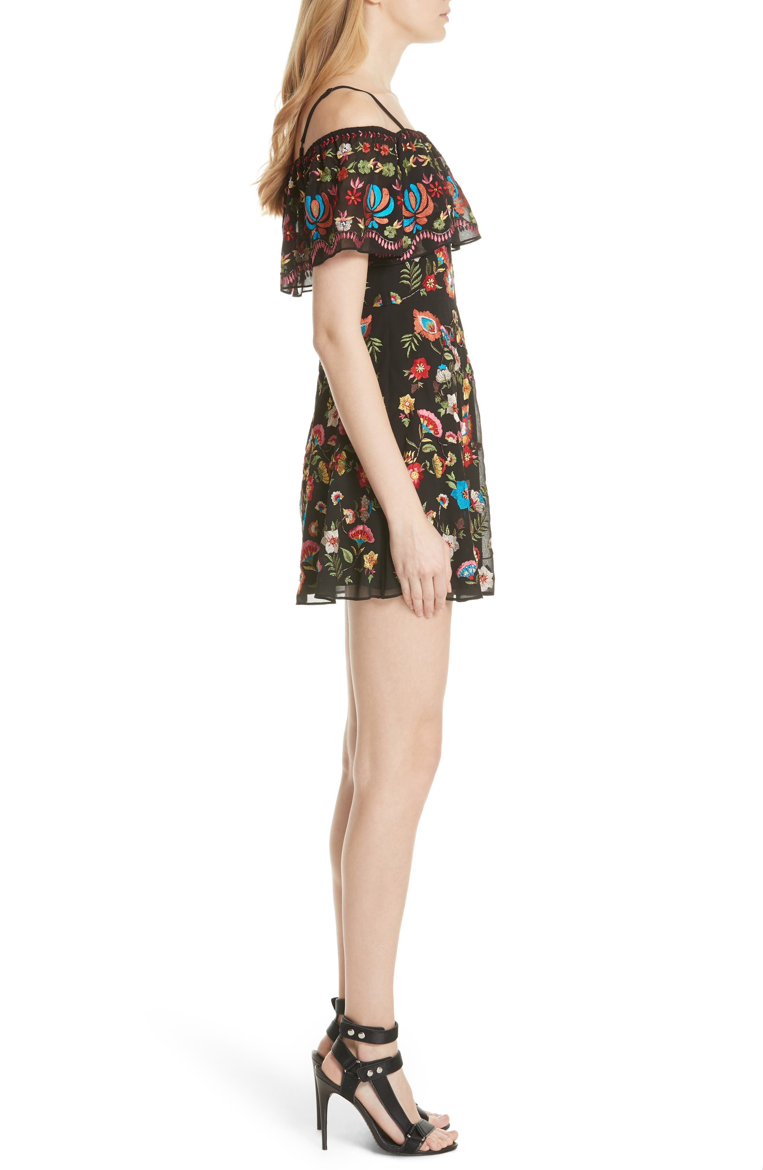 ALICE + OLIVIA,                             Francina Embroidered Off the Shoulder Minidress,                             Alternate thumbnail 3, color,                             019