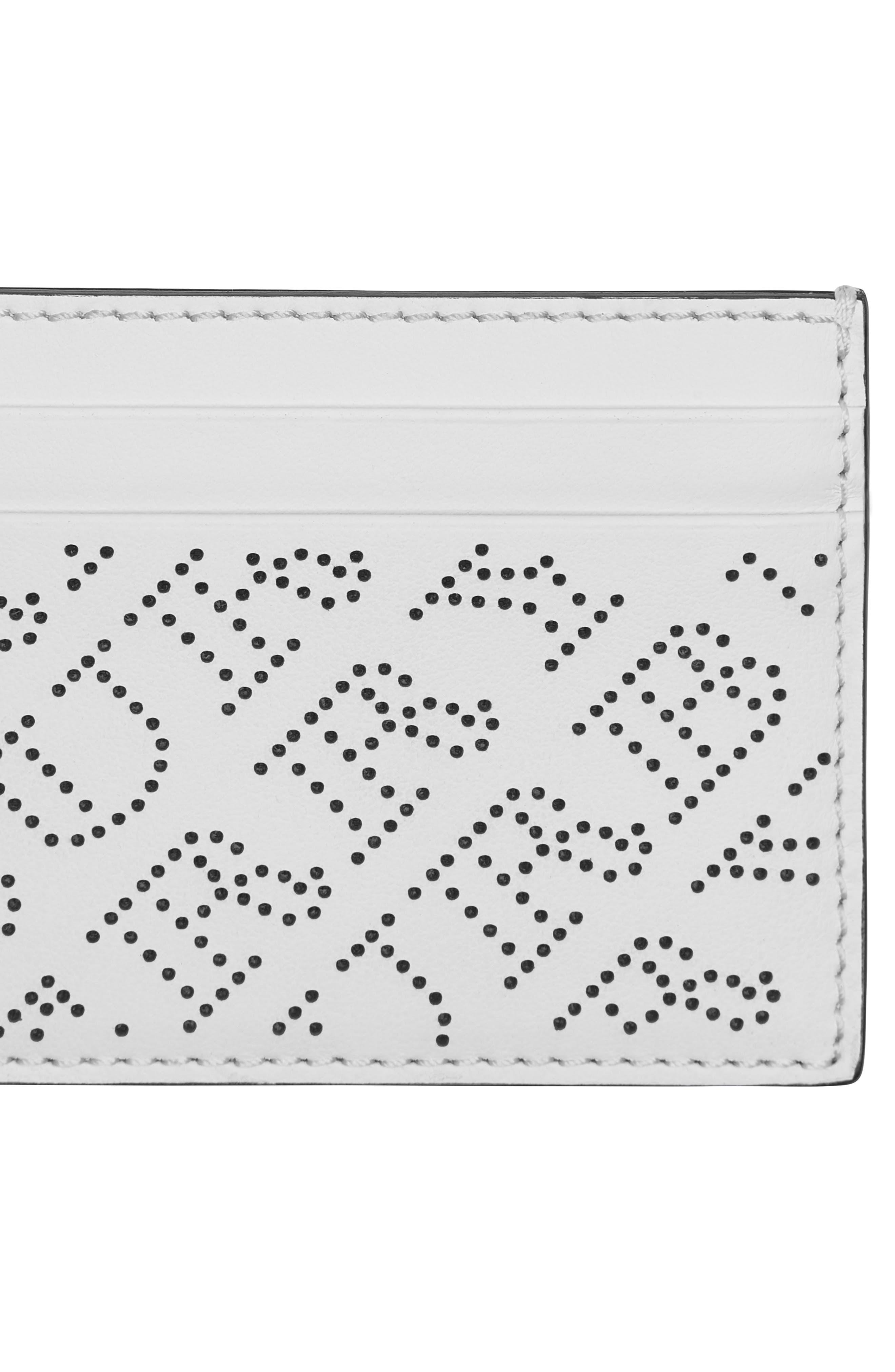 Sandon Perforated Logo Leather Card Case,                             Alternate thumbnail 4, color,                             WHITE