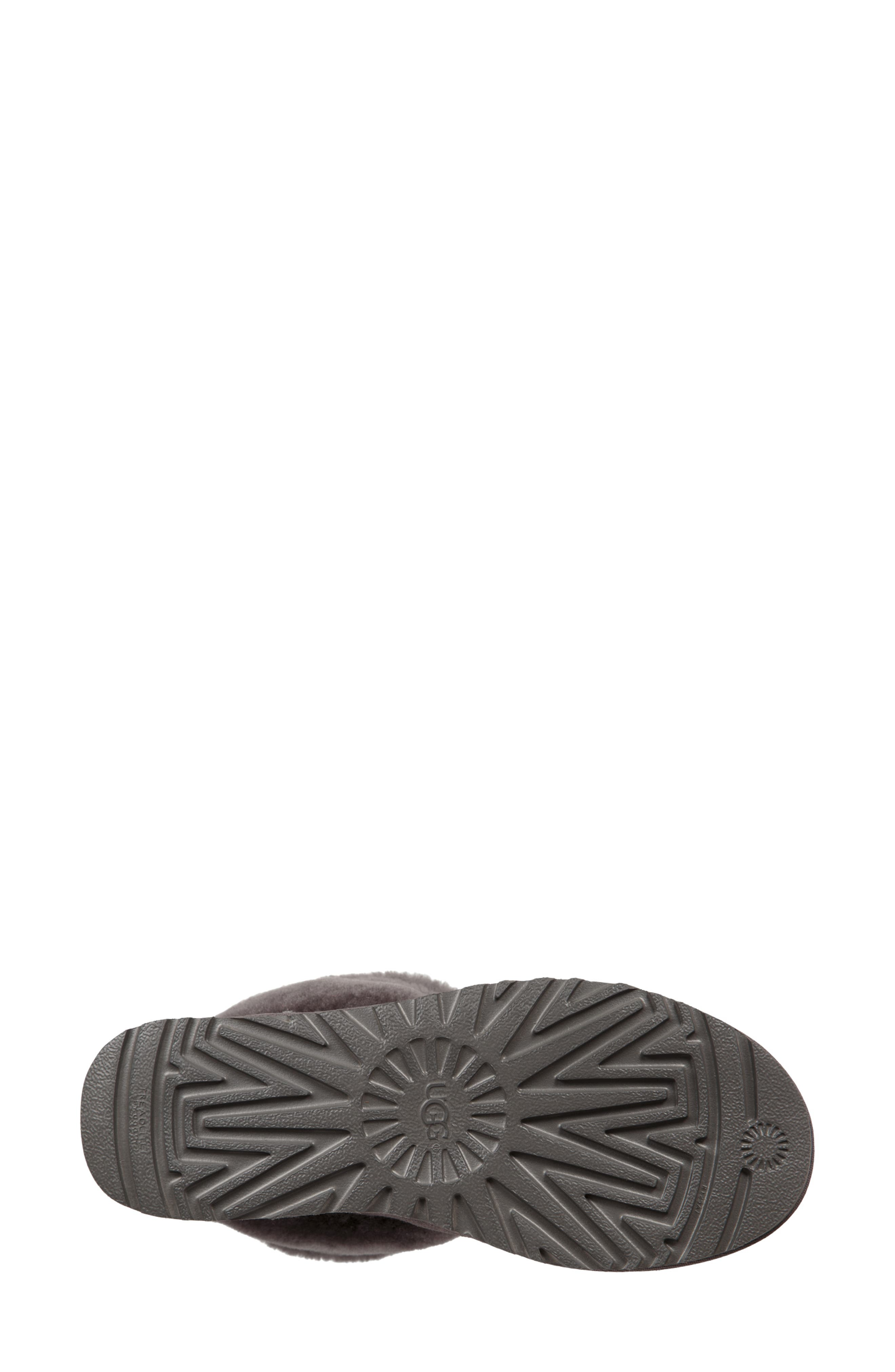 Classic Mini Fluff Quilted Boot,                             Alternate thumbnail 5, color,                             CHARCOAL SUEDE