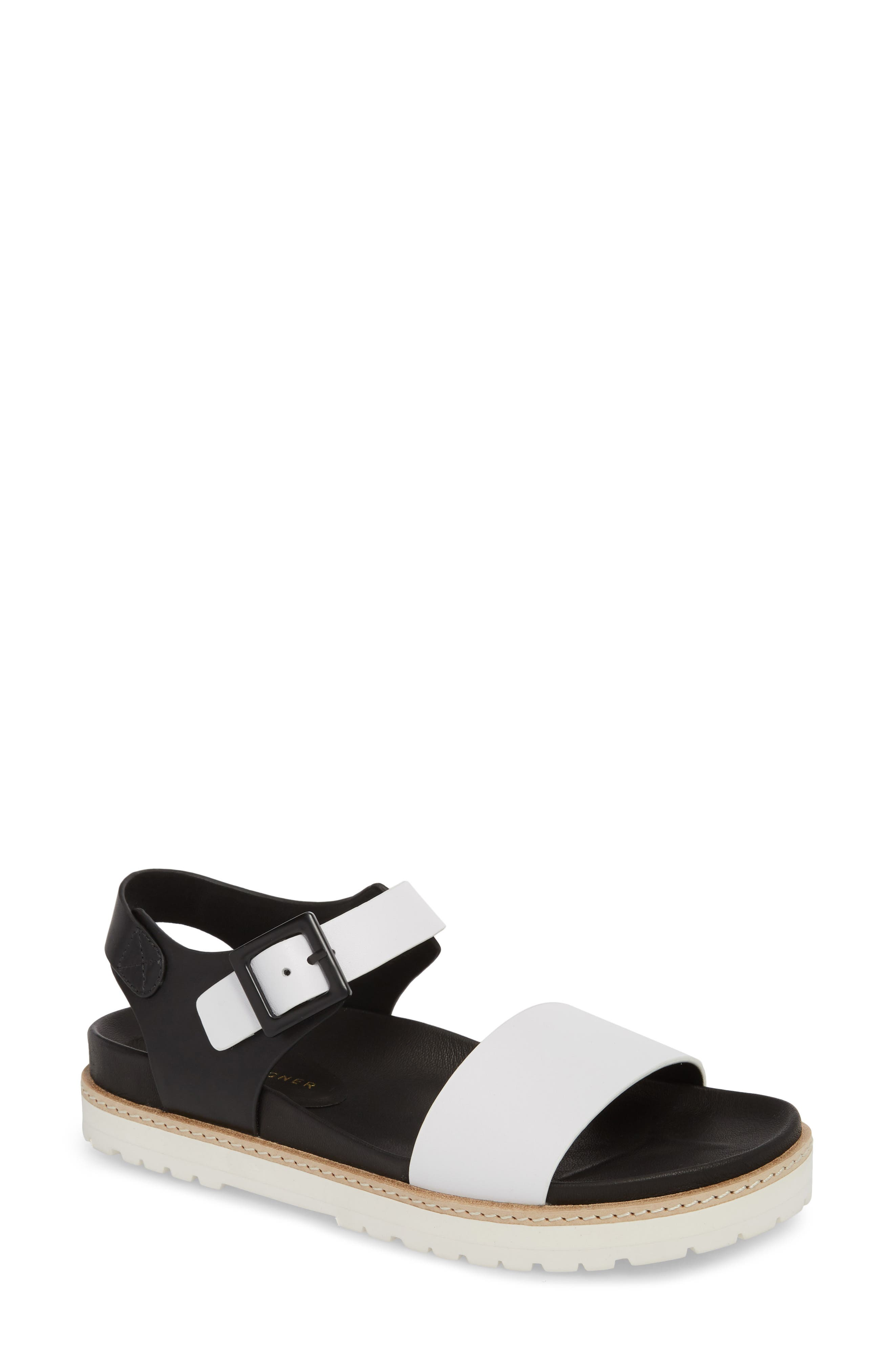 Ange Sandal,                         Main,                         color, WHITE/ BLACK LEATHER