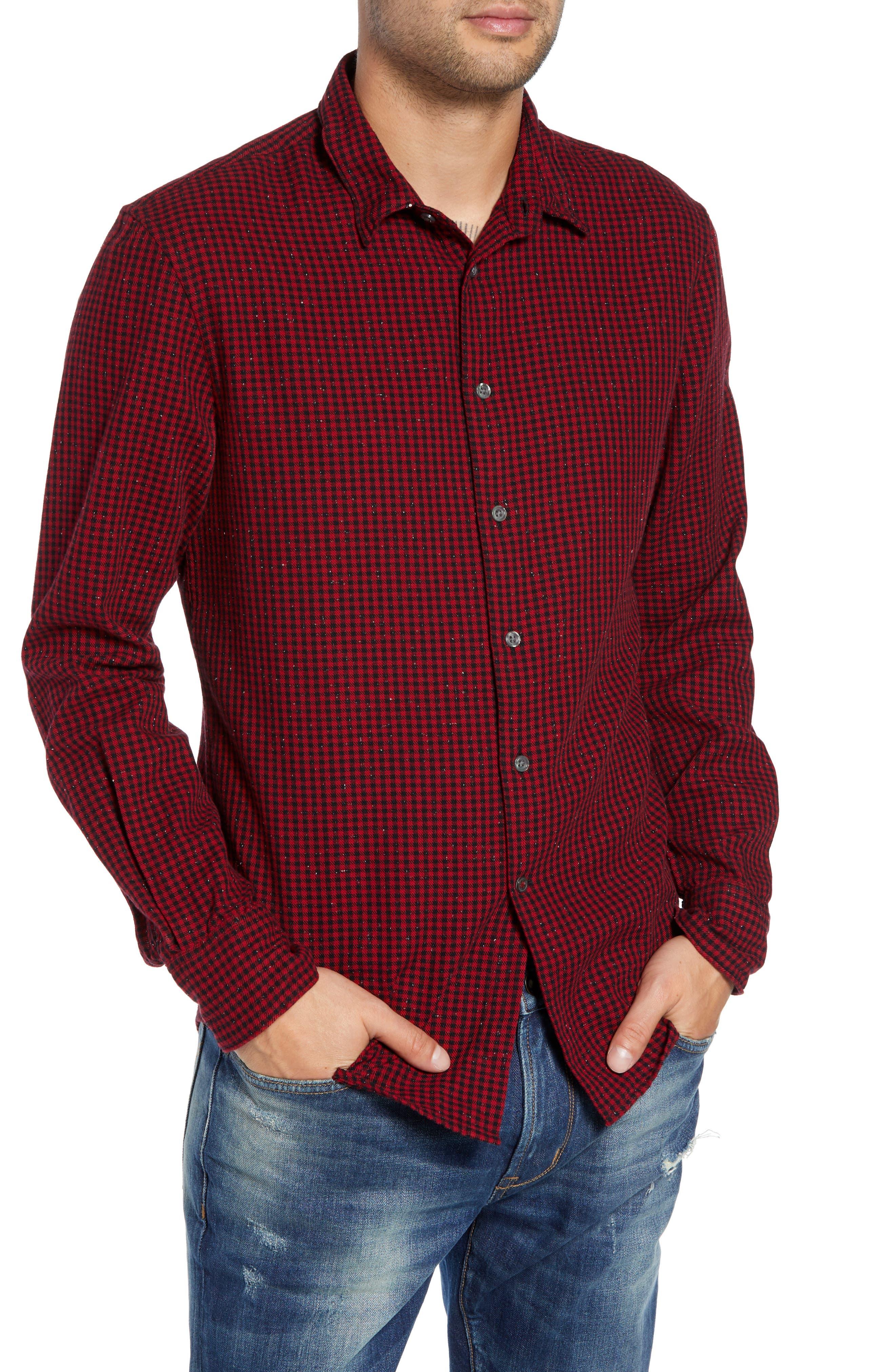 John Varvatos Star Usa Check Sport Shirt, Red