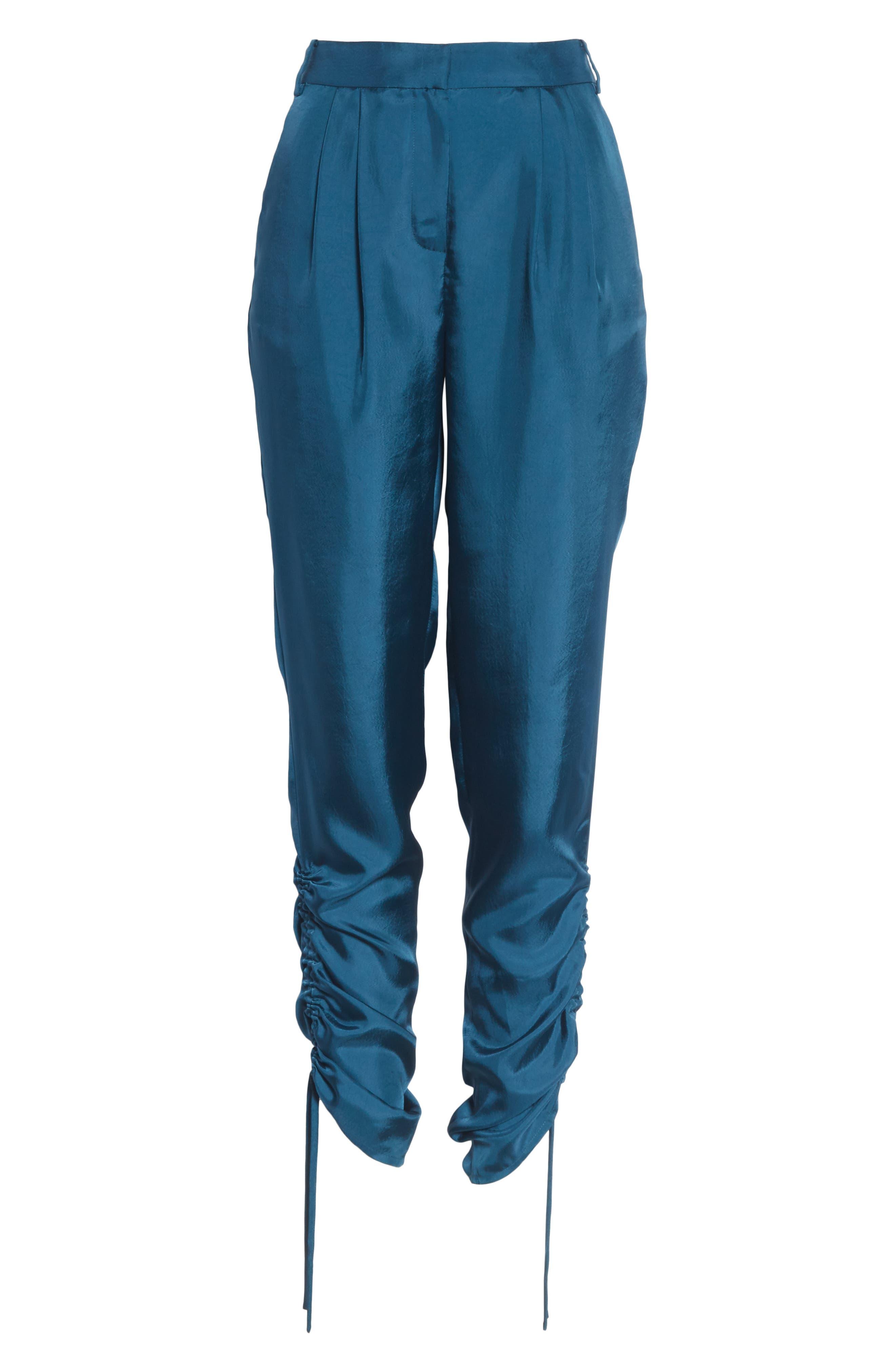 Mendini Twill Shirred Pants,                             Alternate thumbnail 6, color,                             TEAL BLUE