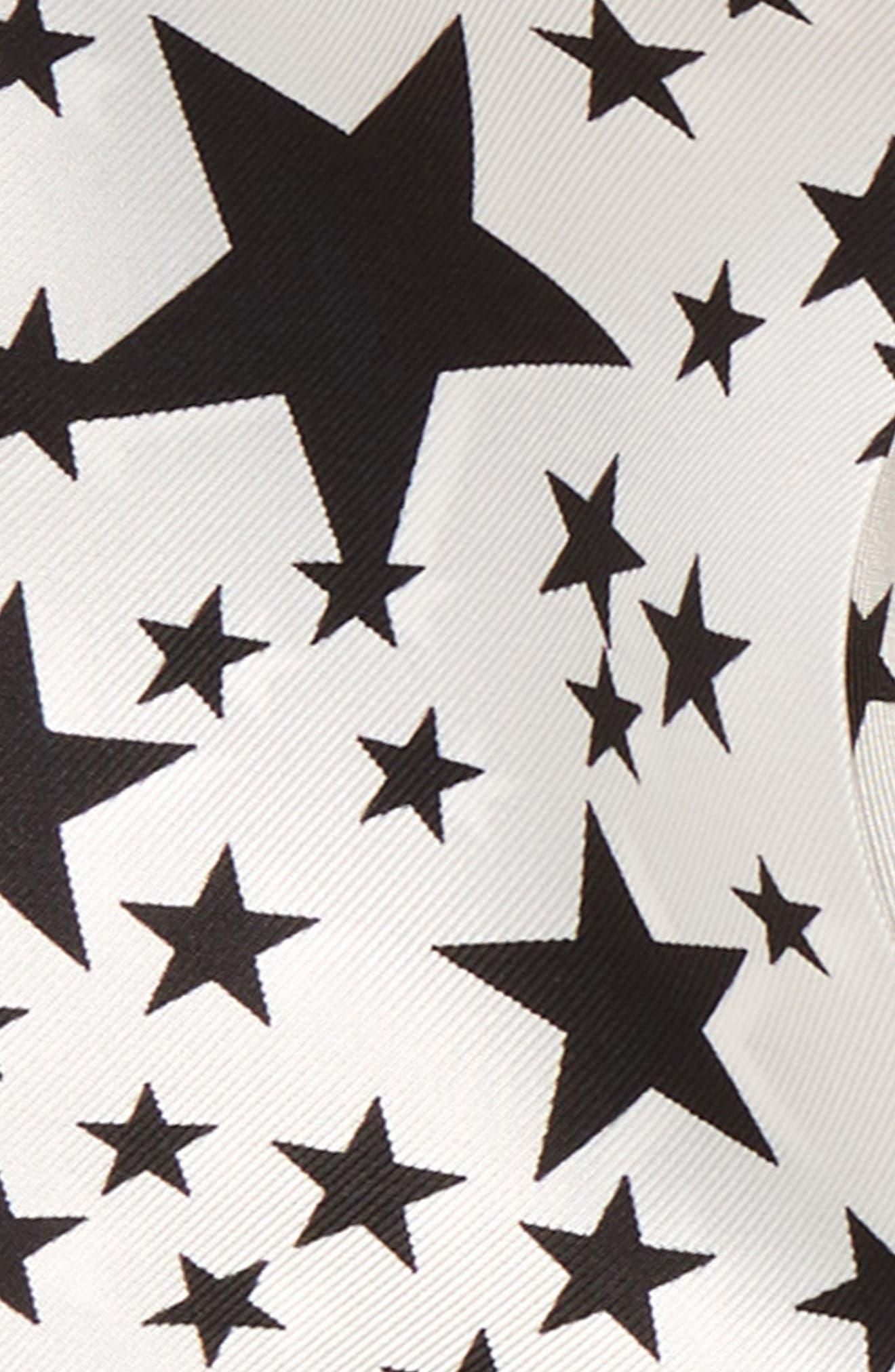 Star Print Double Skinny Silk Scarf,                             Alternate thumbnail 3, color,                             100