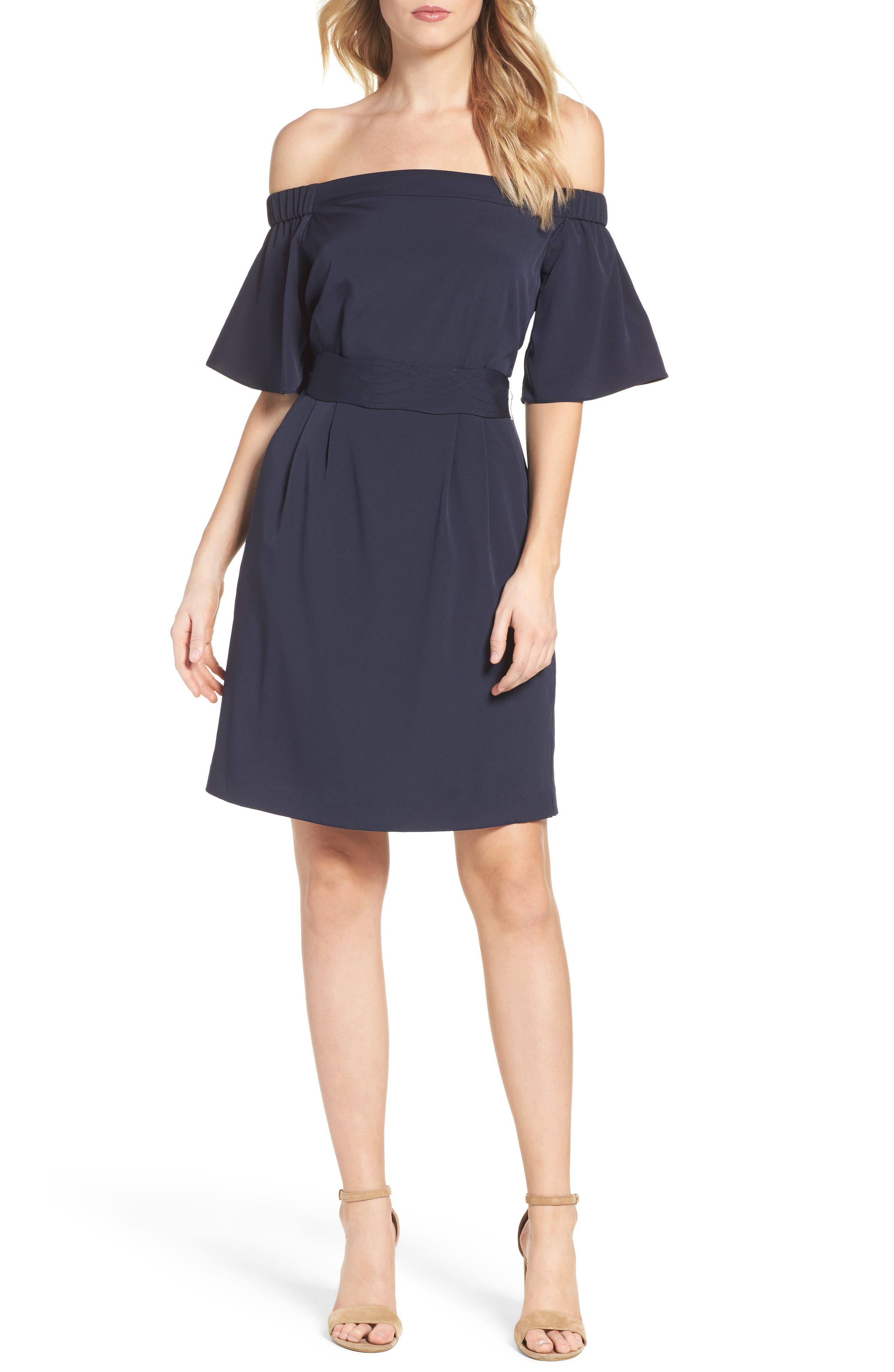 Off the Shoulder Obi Dress,                         Main,                         color, NAVY
