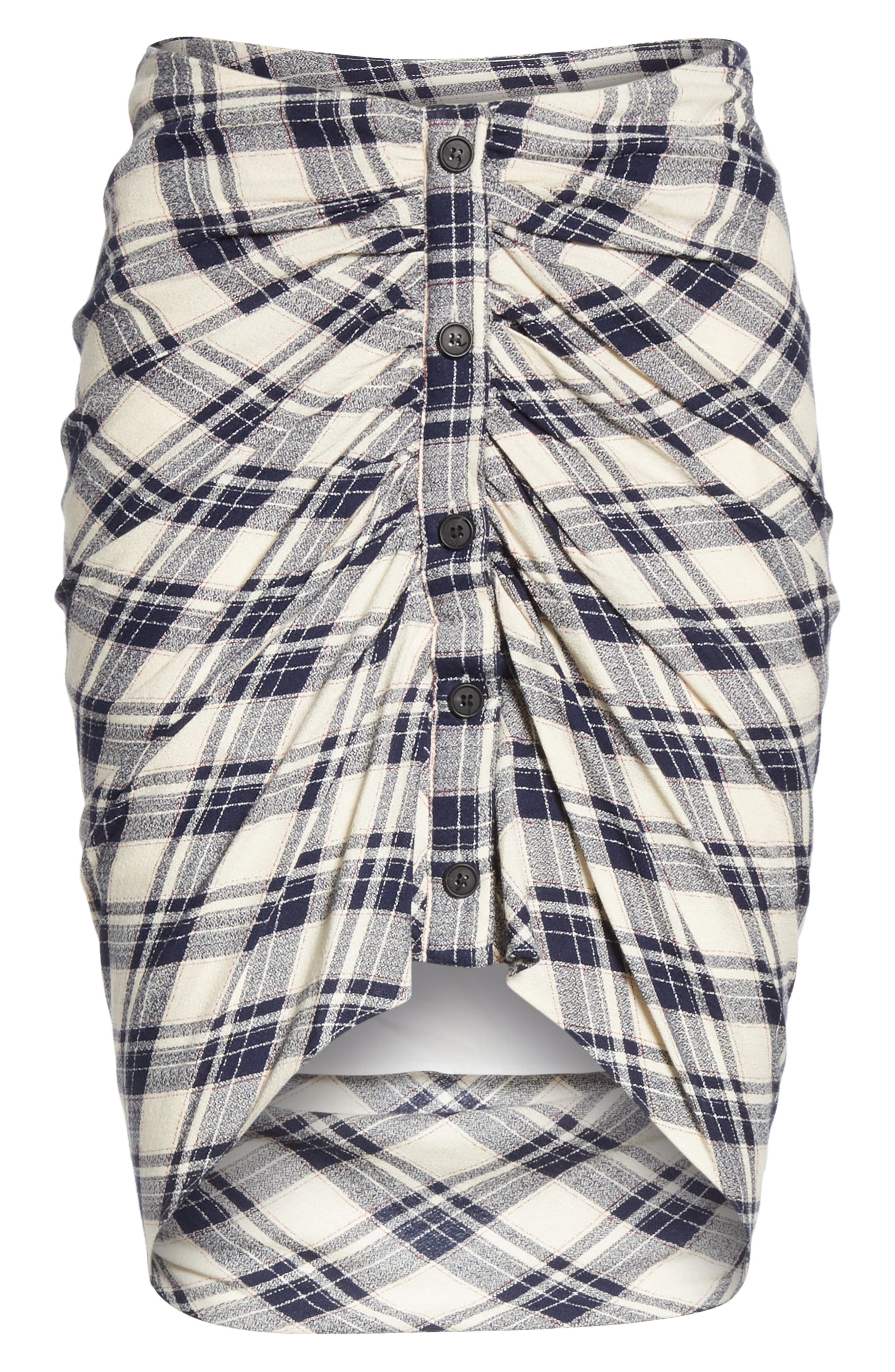 Murphy Ruched Miniskirt,                             Alternate thumbnail 6, color,                             NAVY/ ECRU