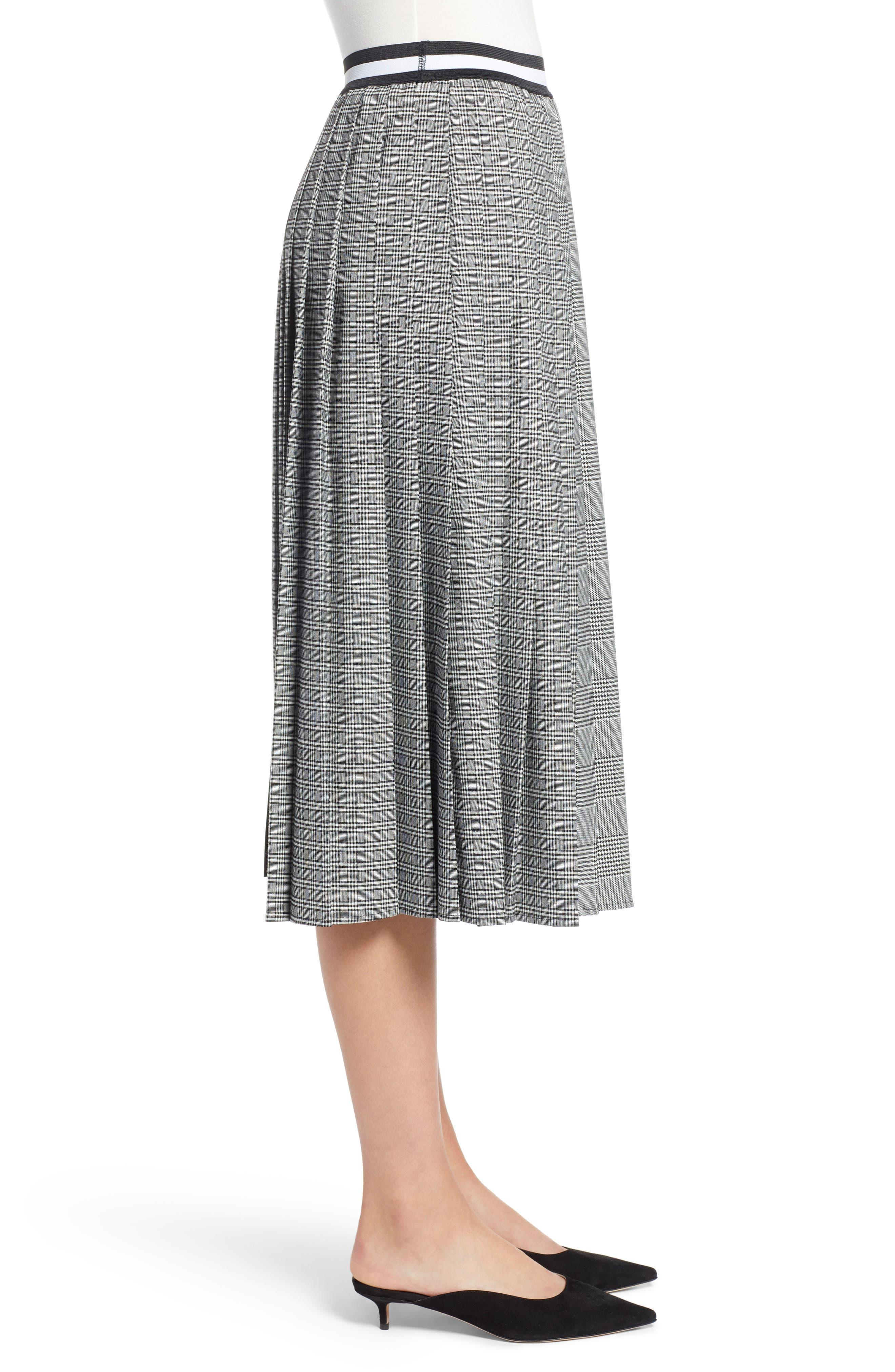 Plaid A-Line Skirt,                             Alternate thumbnail 4, color,                             001