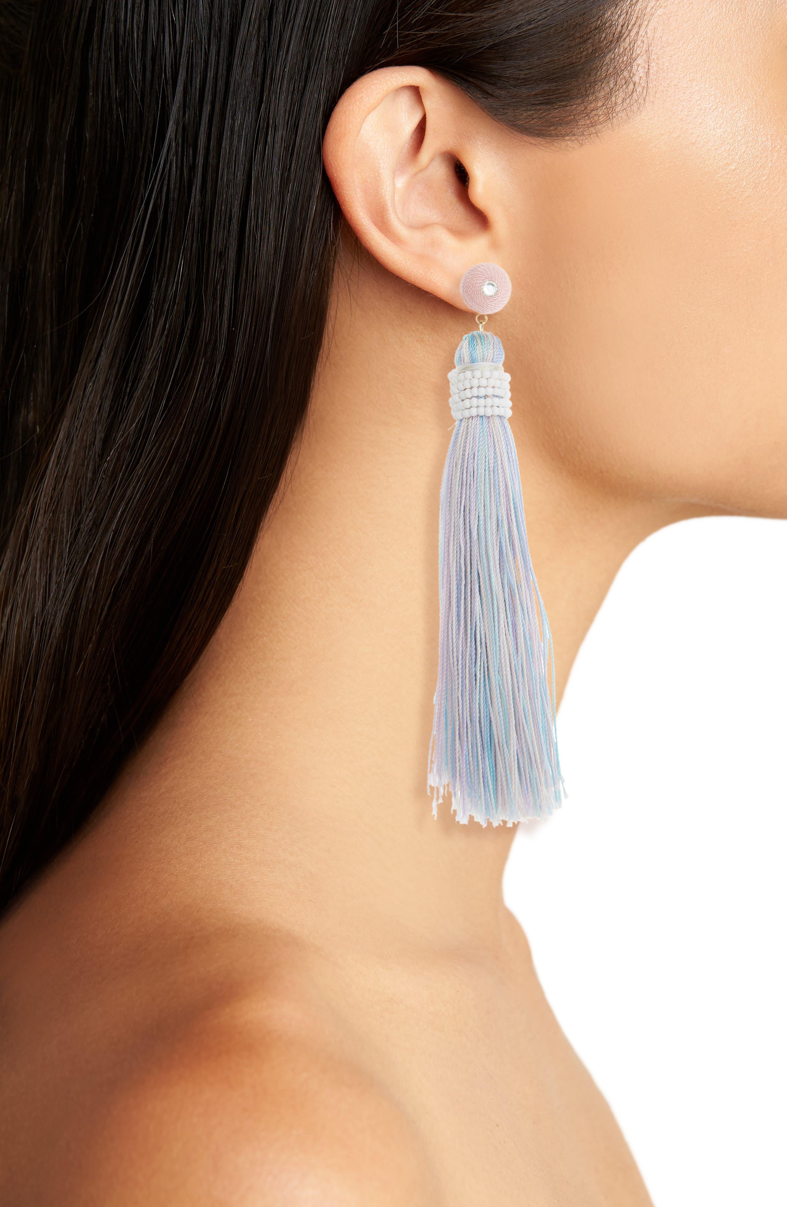 Beaded Wrap Tassel Earrings,                             Alternate thumbnail 2, color,