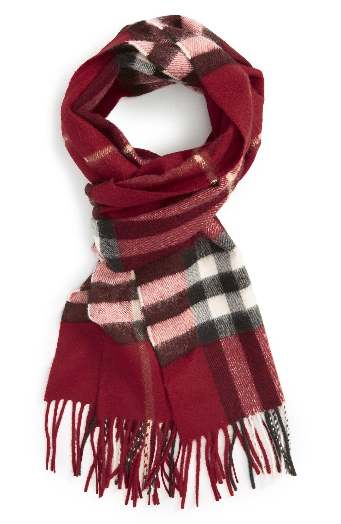 'Giant Check' Cashmere Scarf,                             Alternate thumbnail 3, color,                             PARADE RED