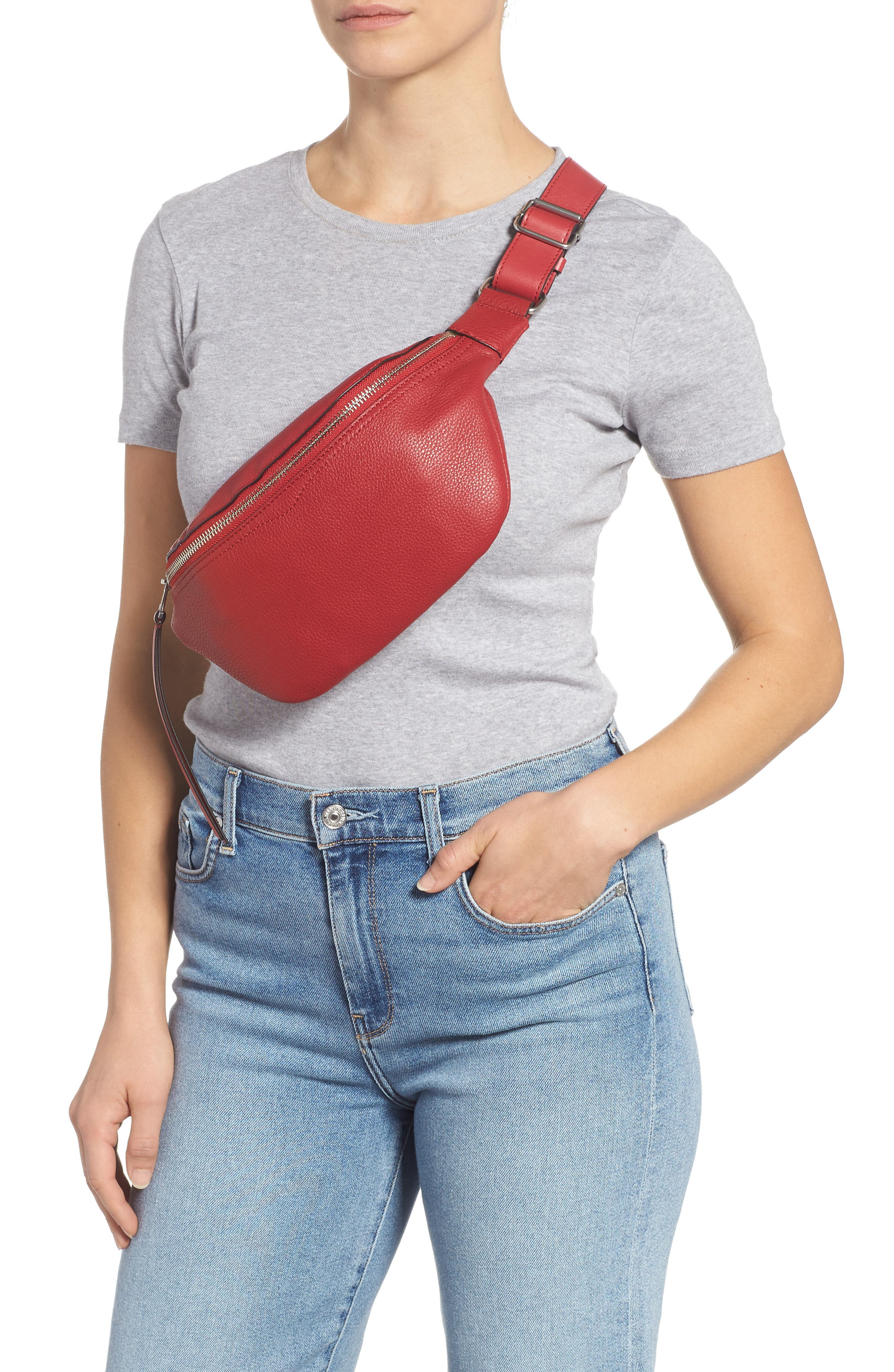 Bree Leather Belt Bag,                             Alternate thumbnail 3, color,                             SCARLET