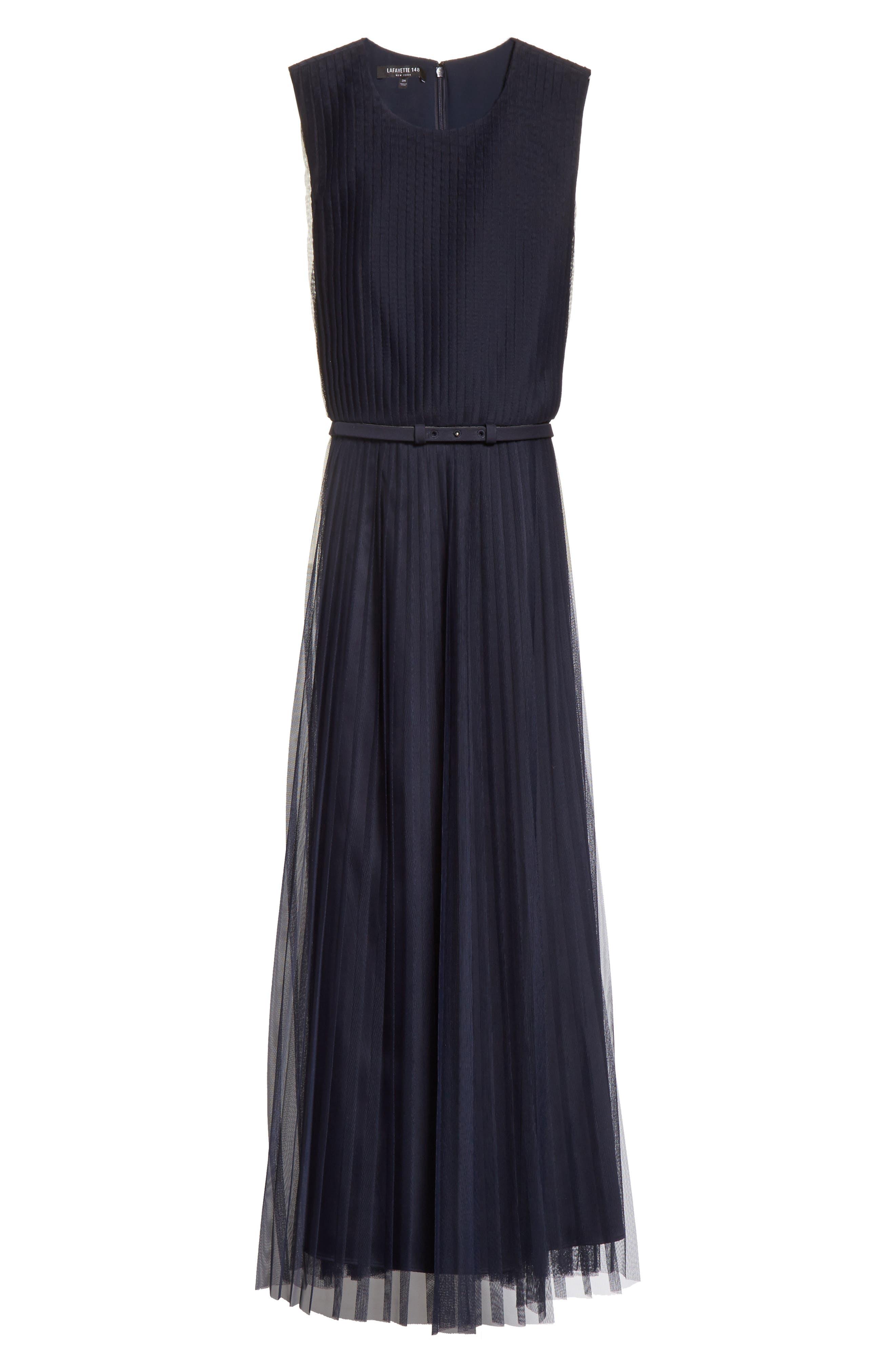 Pleated Mesh Dress,                             Alternate thumbnail 6, color,                             434