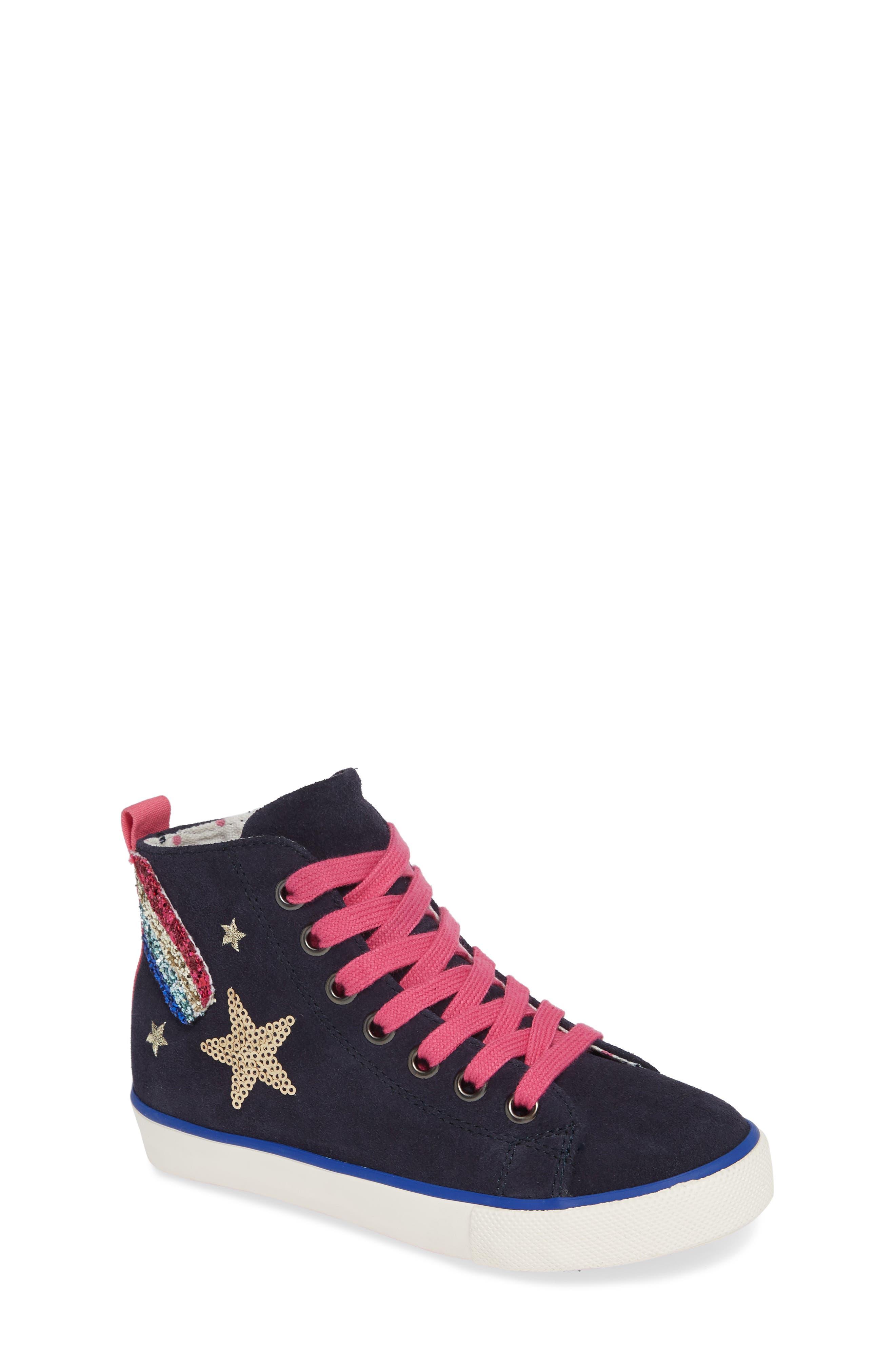 Mini Boden Appliqué High Top Sneaker,                         Main,                         color, SCHOOL NAVY