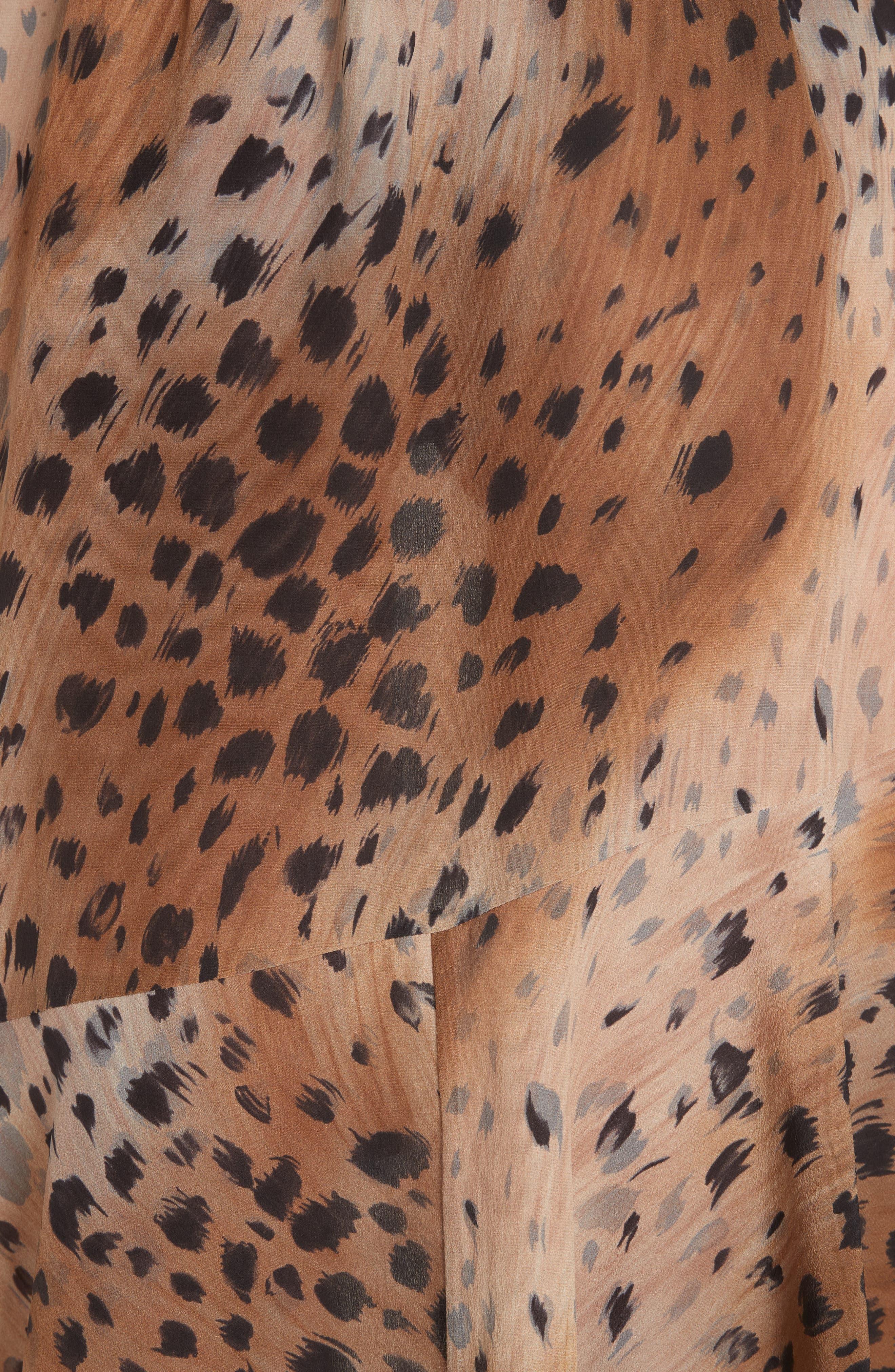Delancy Silk Dress,                             Alternate thumbnail 6, color,                             SADDLE MULTI