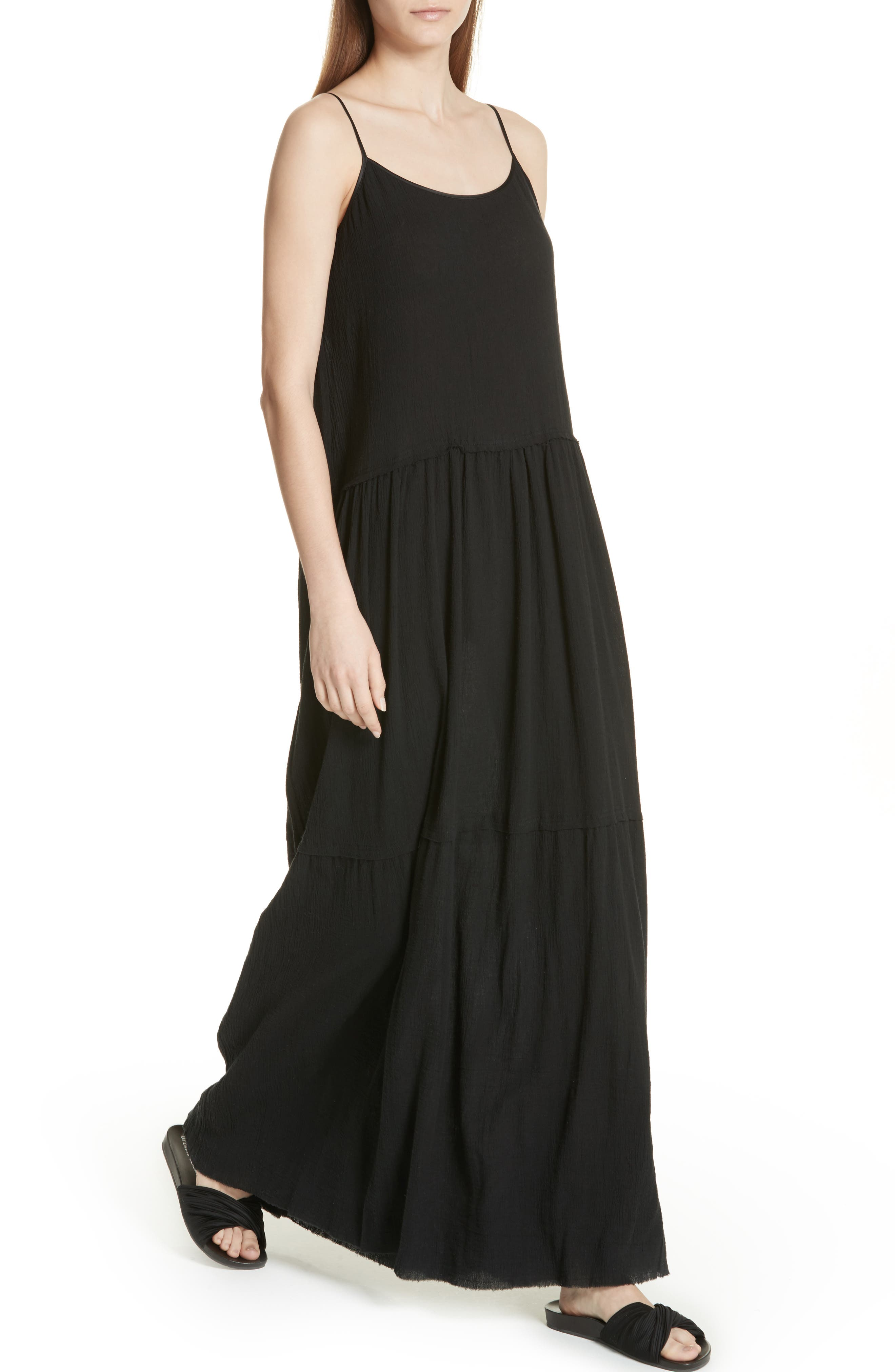 Tiered Maxi Dress,                             Alternate thumbnail 4, color,                             001