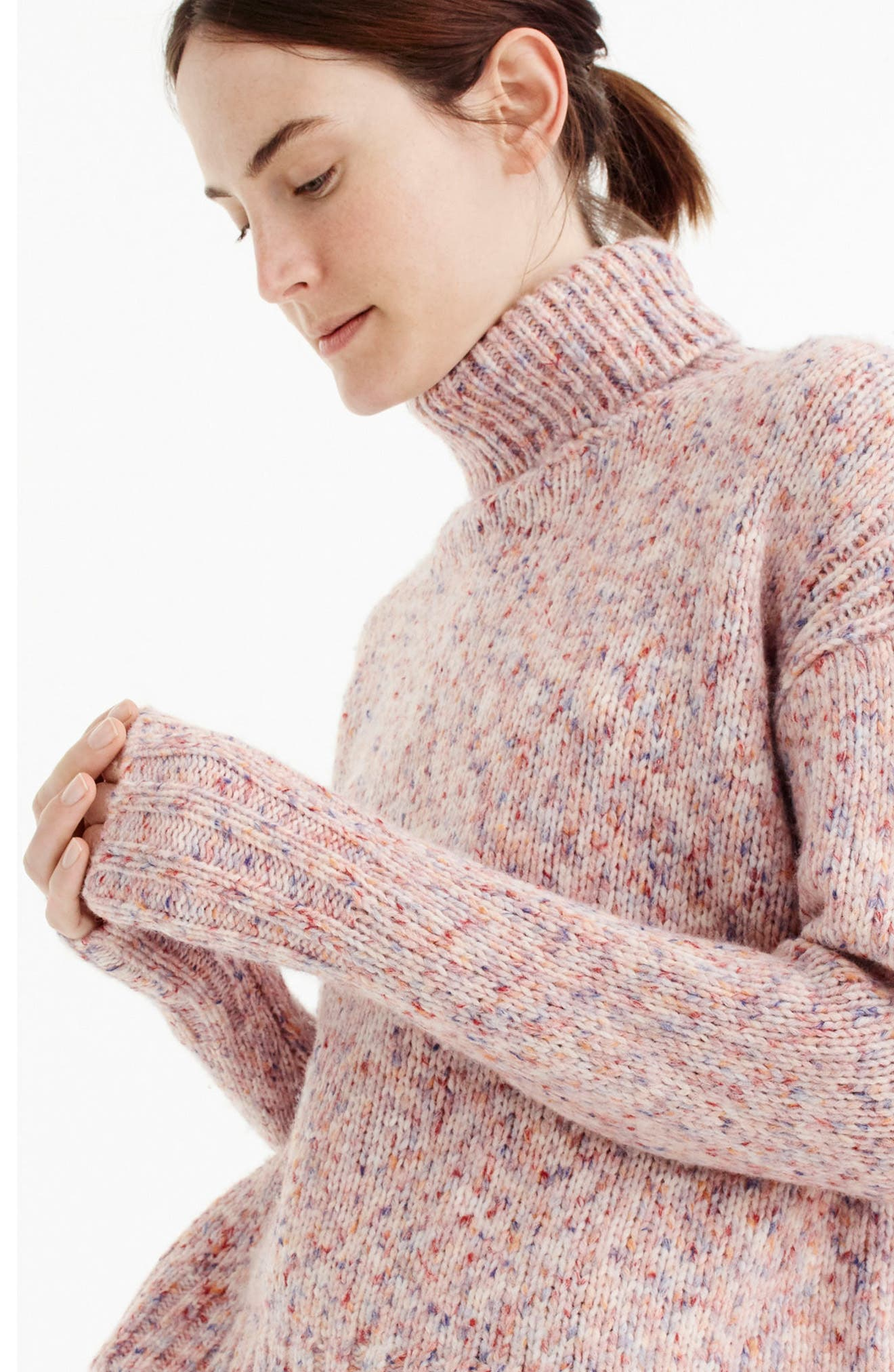 Marled Wool Blend Turtleneck Sweater,                             Alternate thumbnail 3, color,