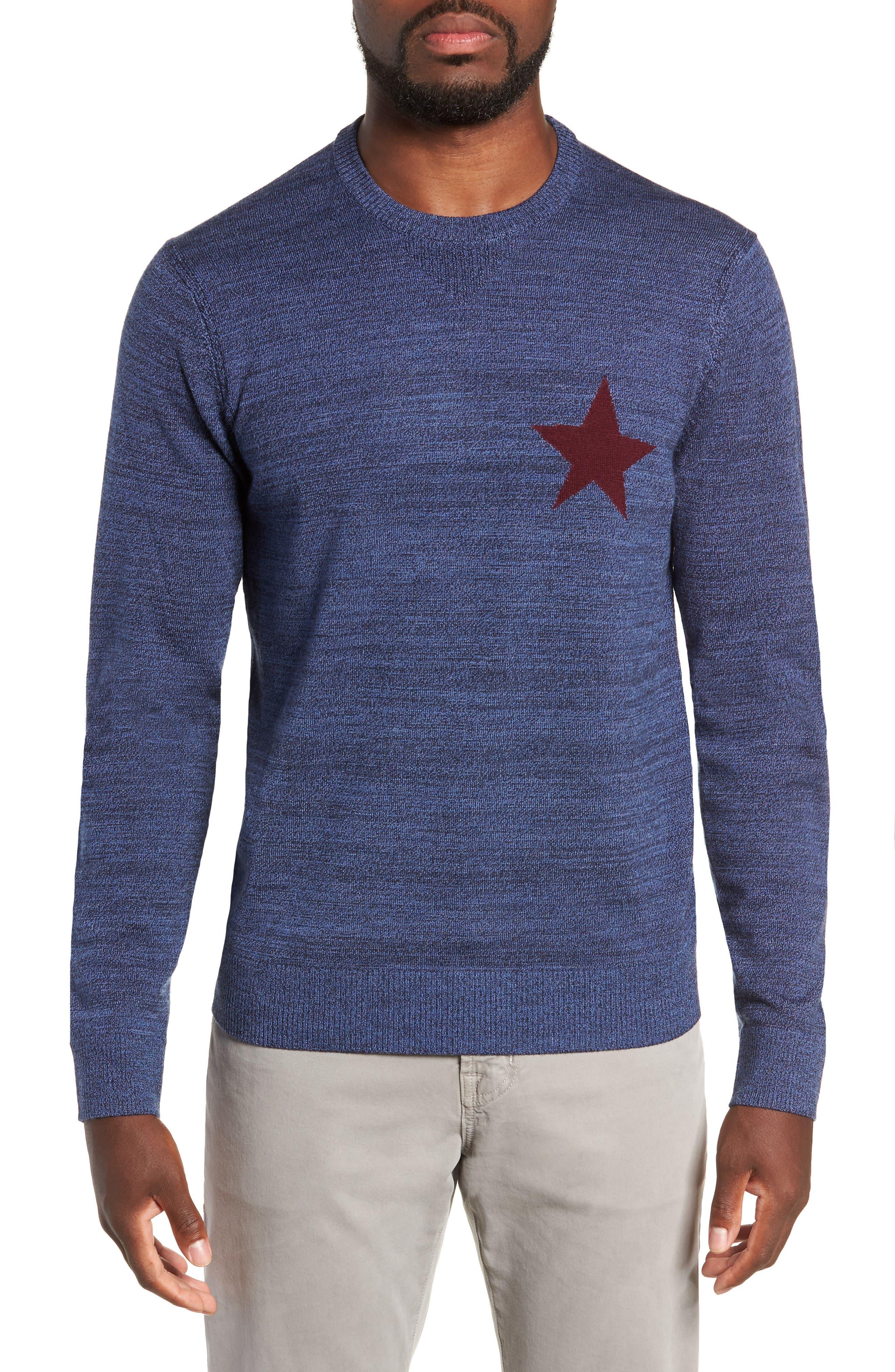 Intaria Star Merino Wool Sweater,                             Main thumbnail 1, color,                             BLUE
