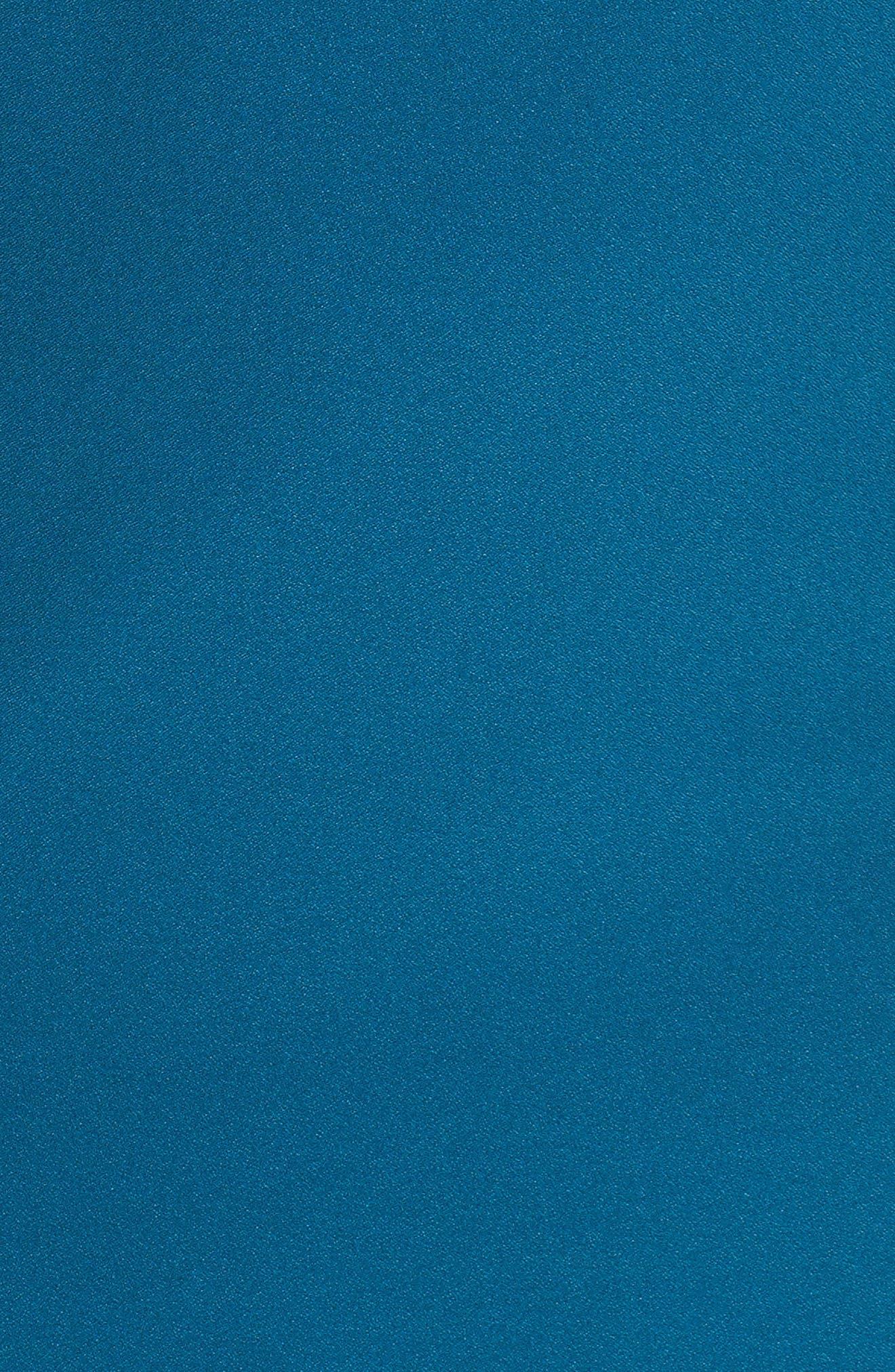 Long Split Sleeve Crepe Sheath Dress,                             Alternate thumbnail 6, color,                             OCEAN TEAL
