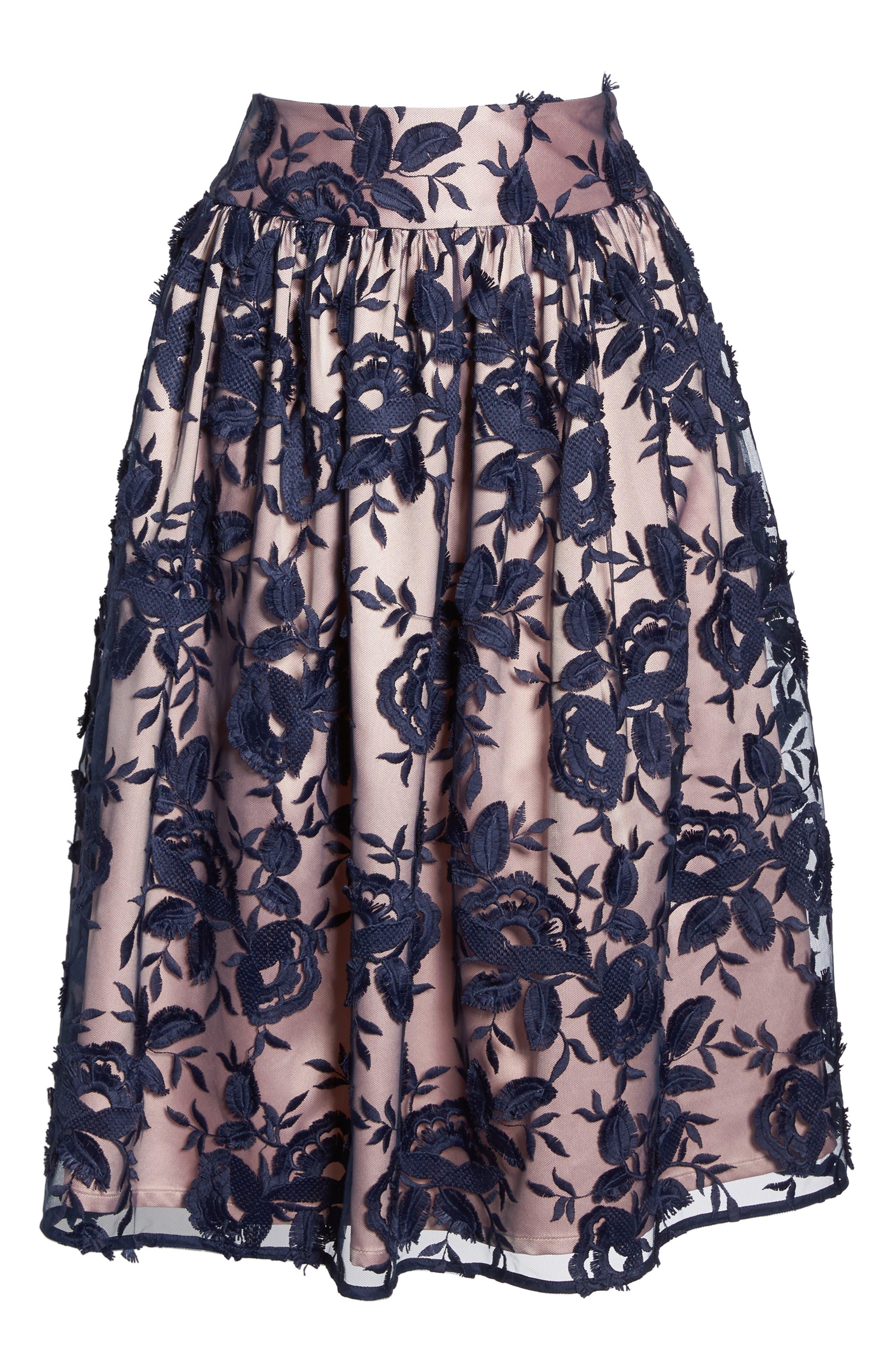 Embroidered Midi Skirt,                             Alternate thumbnail 5, color,                             401
