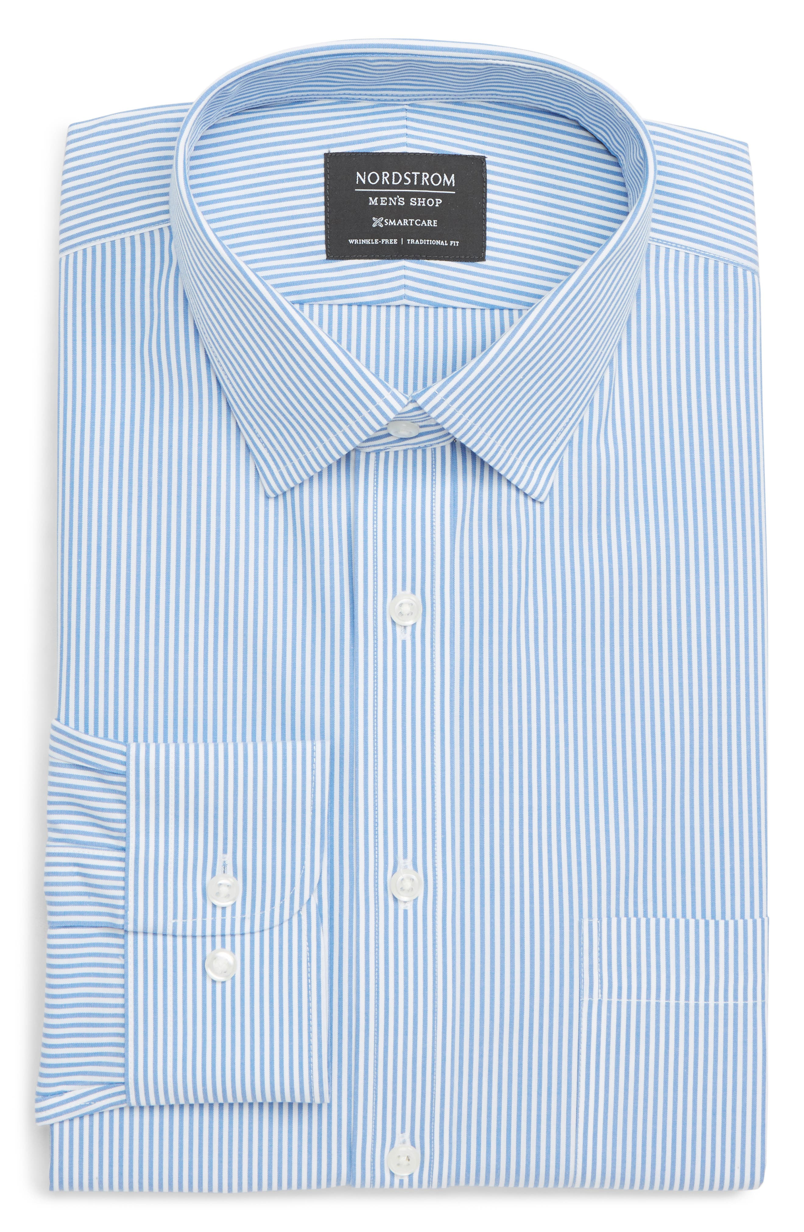 Nordstrom Shop Smartcare(TM) Traditional Fit Stripe Dress Shirt - Blue