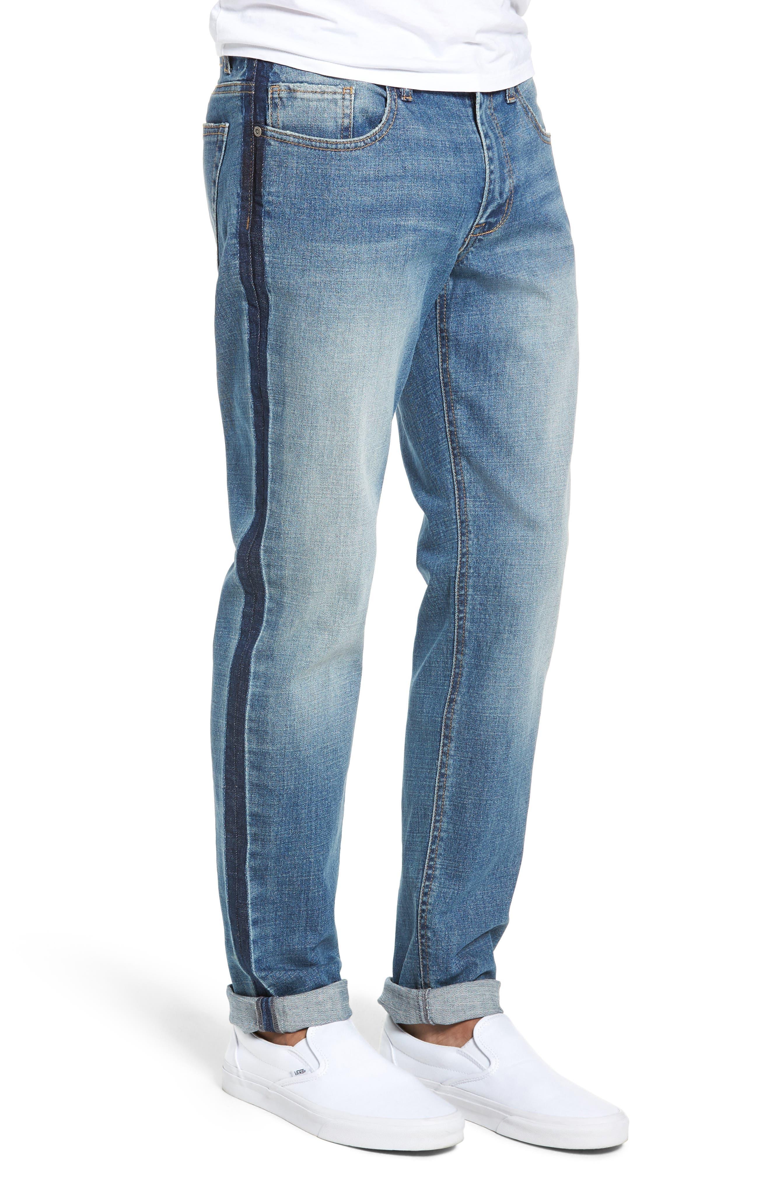 Slim Fit Side Stripe Jeans,                             Alternate thumbnail 3, color,                             BLUE STALEY WASH