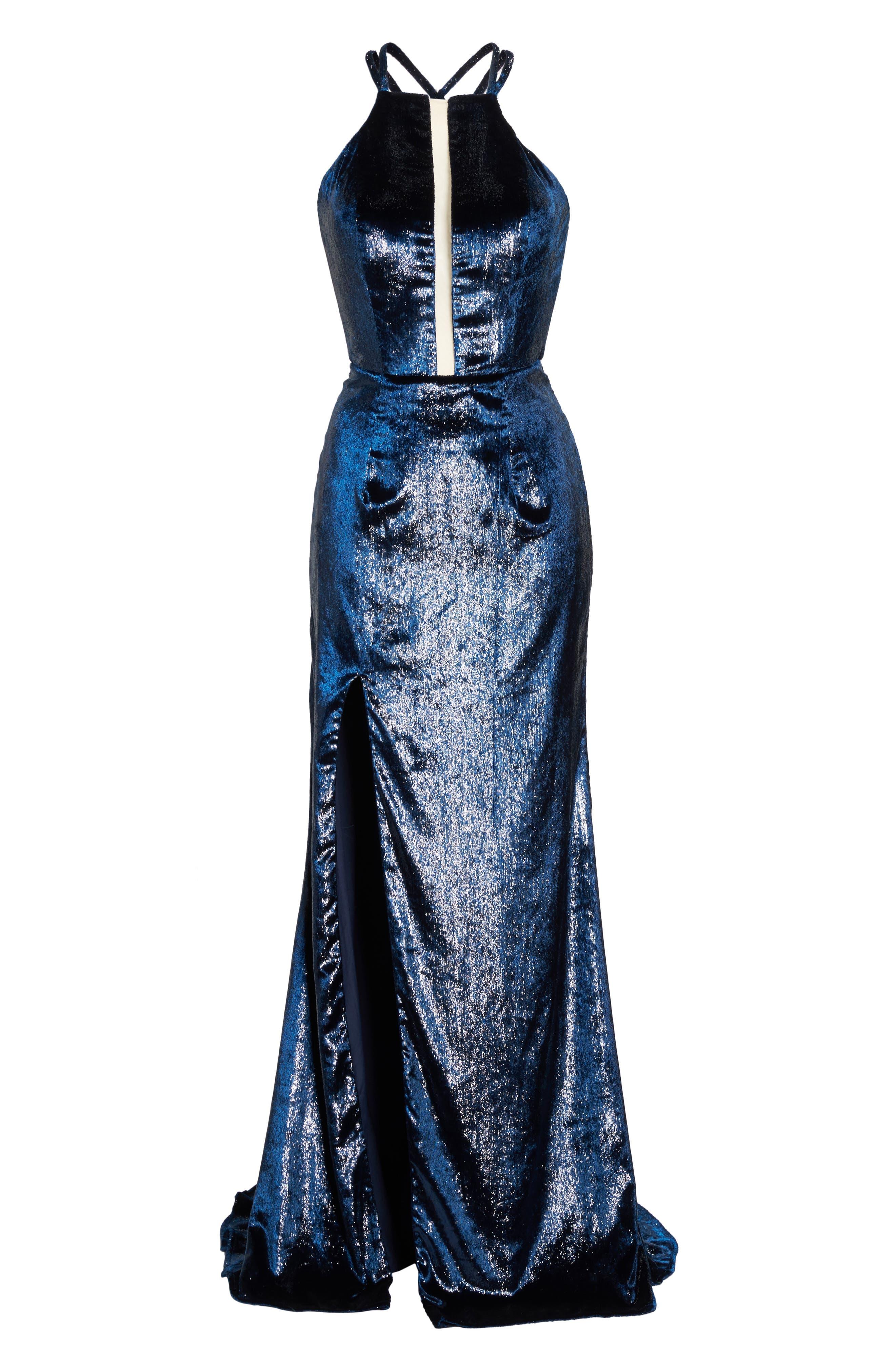Open Back Textured Velvet Gown,                             Alternate thumbnail 6, color,                             NAVY