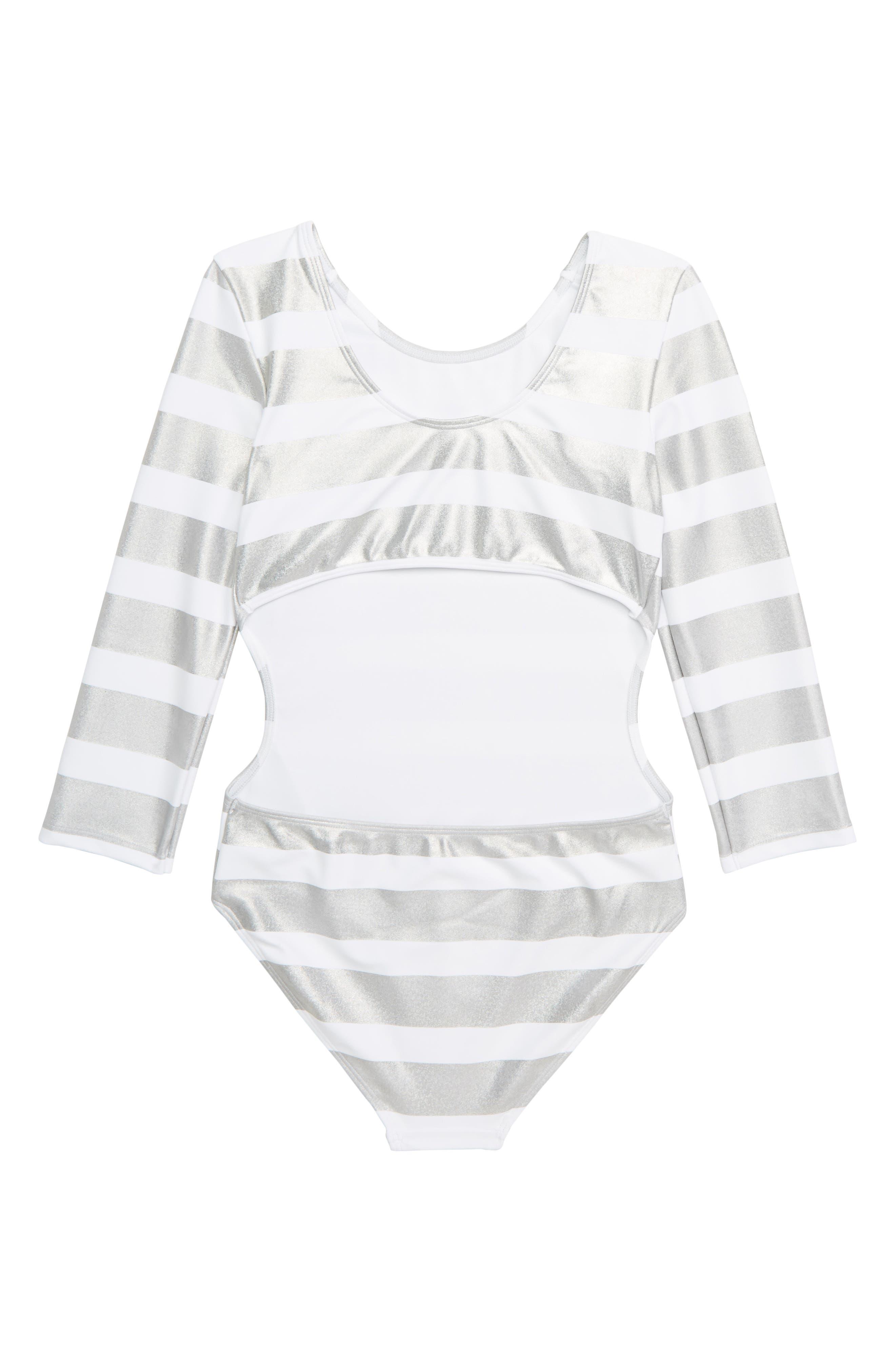 ZELLA GIRL,                             Mirror Stripe One-Piece Swimsuit,                             Alternate thumbnail 2, color,                             WHITE MULTI FOIL STRIPE