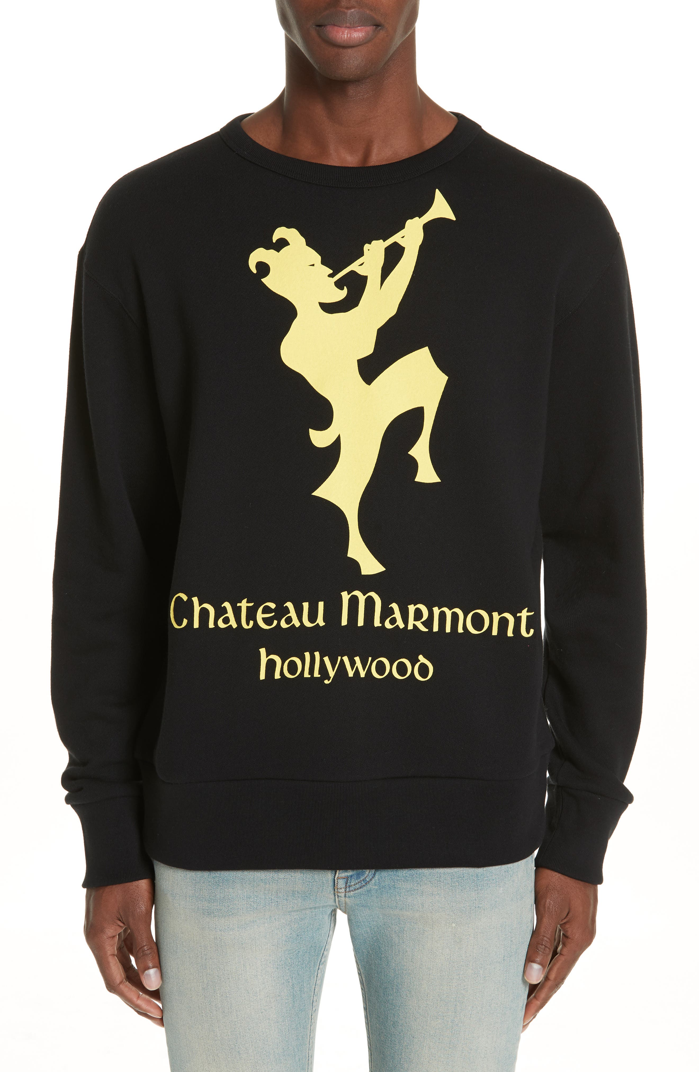 GUCCI,                             Chateau Marmont Graphic Sweatshirt,                             Main thumbnail 1, color,                             001