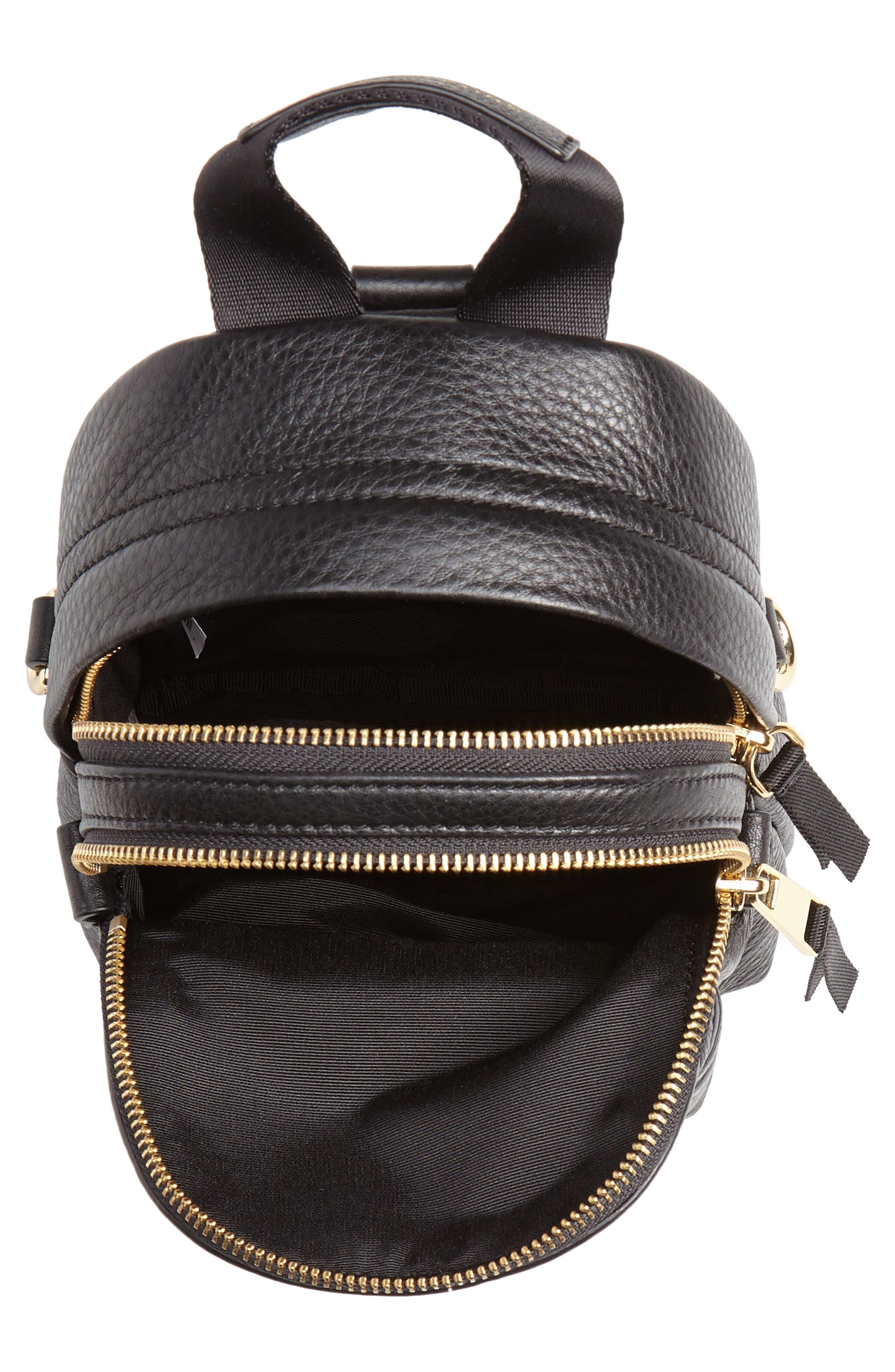 Mini Trek Leather Backpack,                             Alternate thumbnail 5, color,                             BLACK