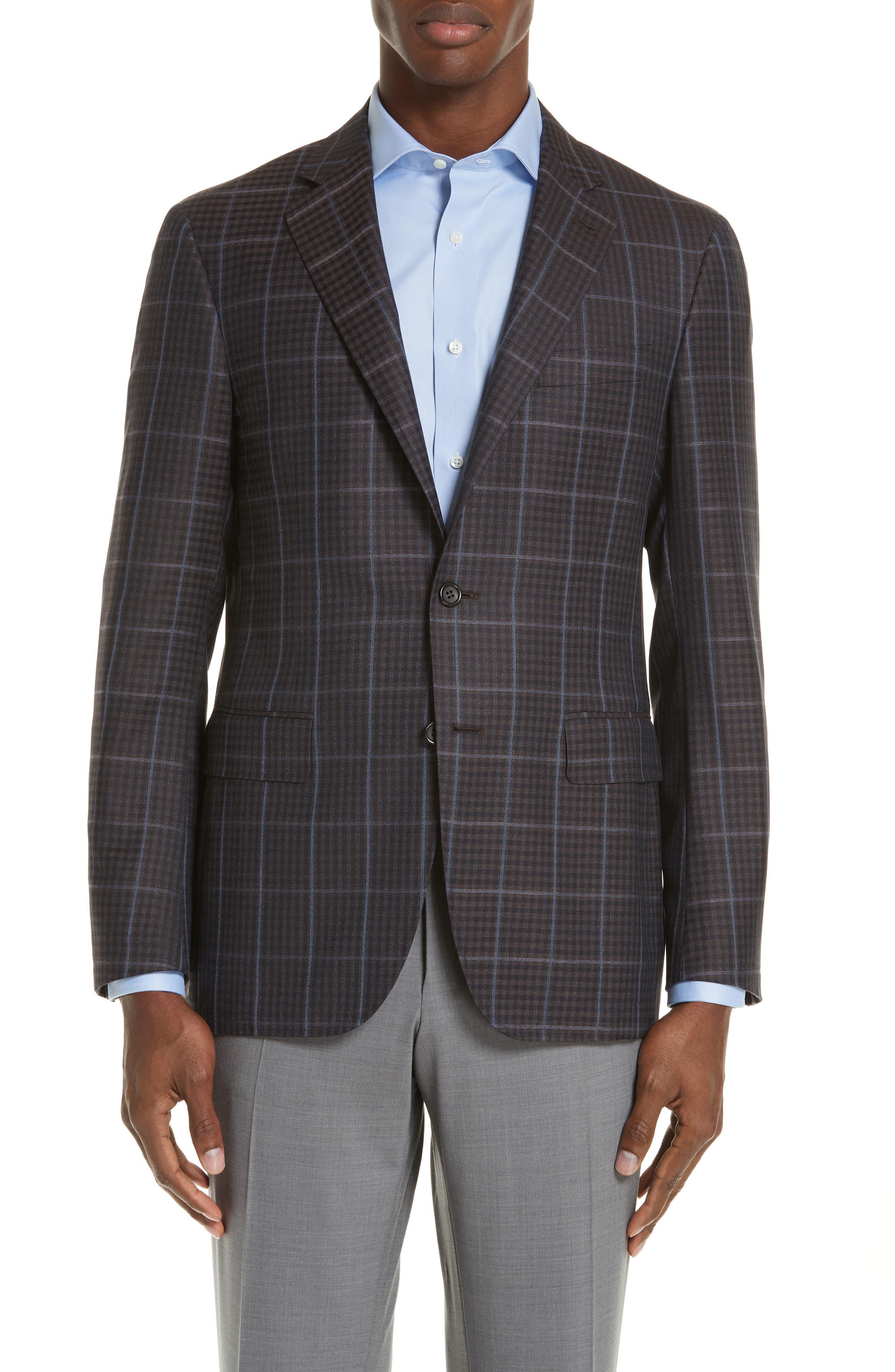 Classic Fit Plaid Wool Sport Coat,                             Main thumbnail 1, color,                             BROWN
