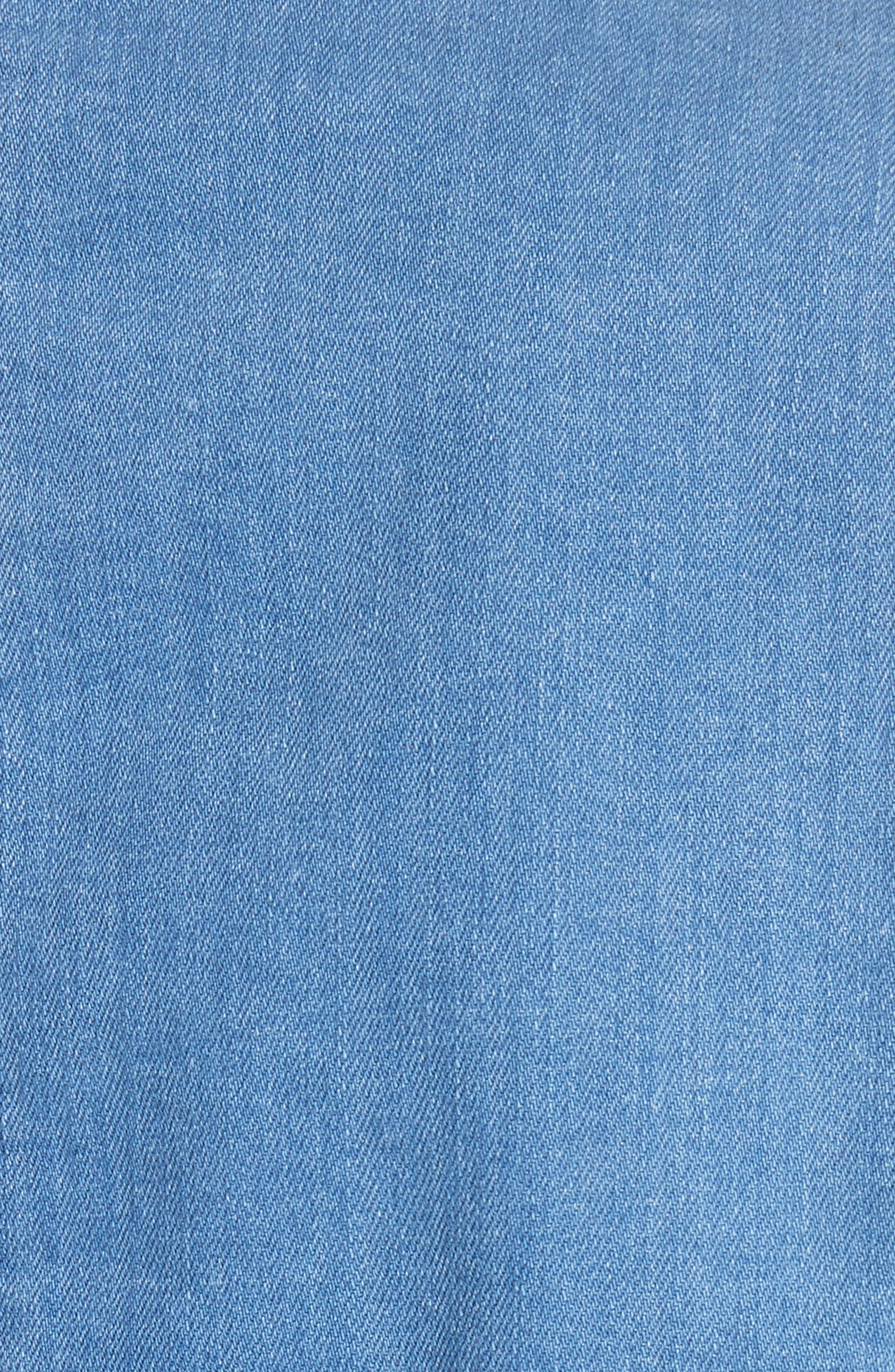 FREE PEOPLE,                             Military Denim Jacket,                             Alternate thumbnail 7, color,                             INDIGO BLUE