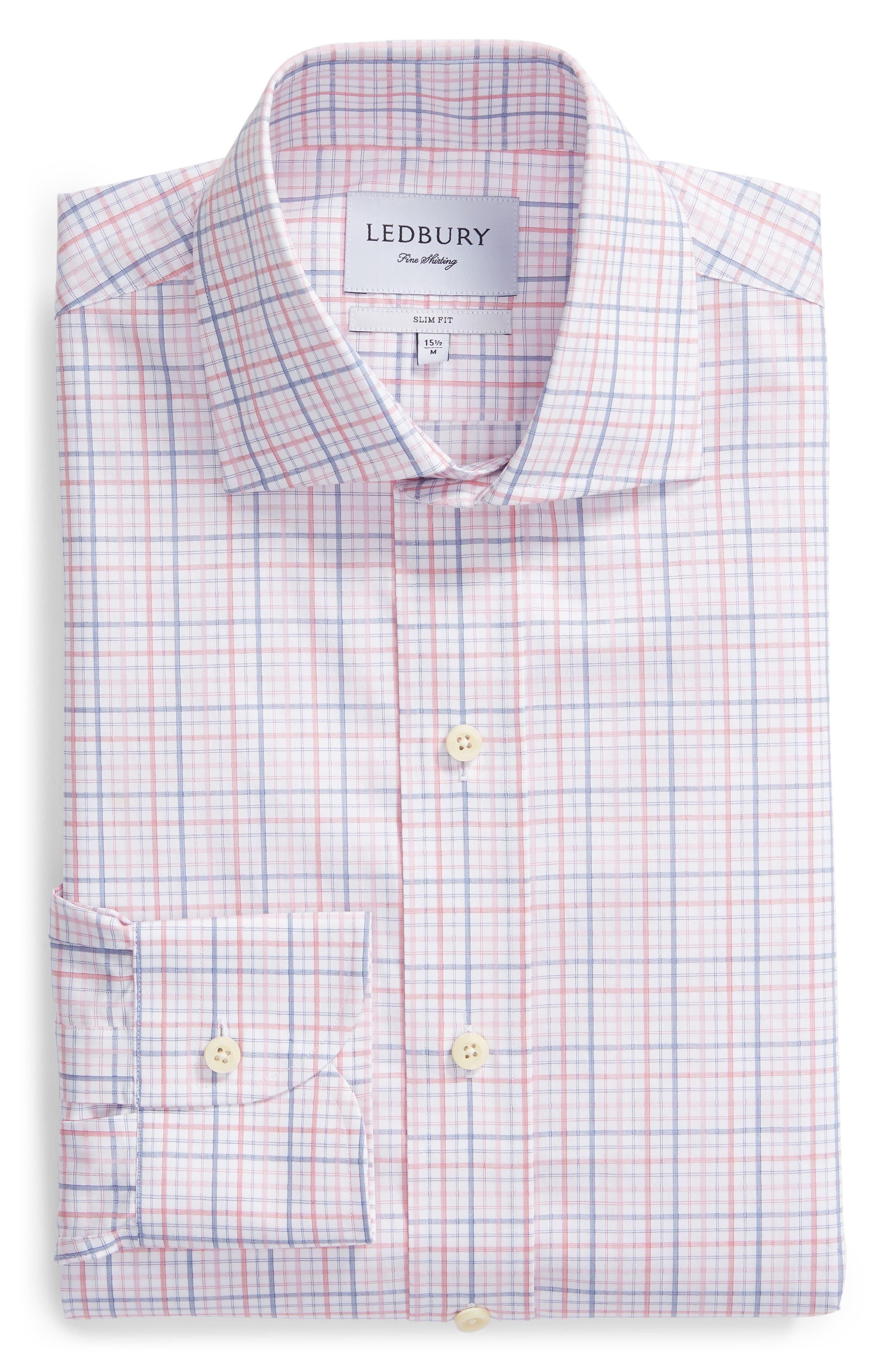 Drazin Trim Fit Check Dress Shirt,                             Alternate thumbnail 5, color,                             PINK