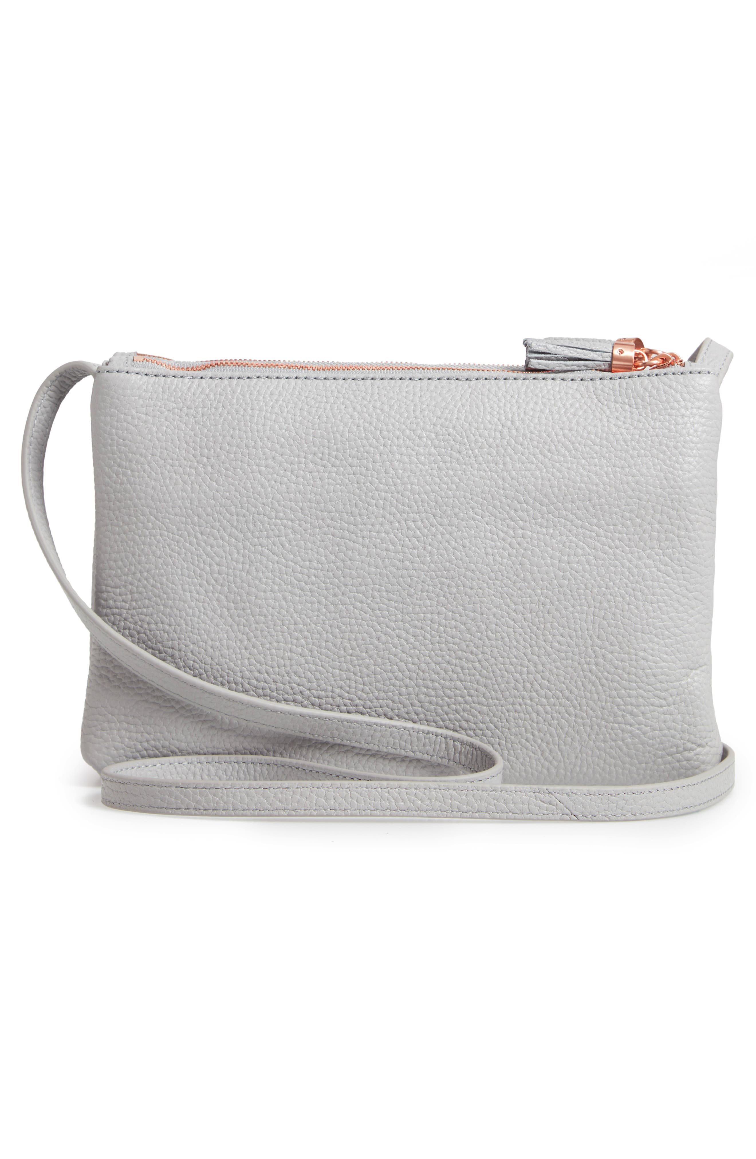Maceyy Double Zip Leather Crossbody Bag,                             Alternate thumbnail 3, color,                             GREY