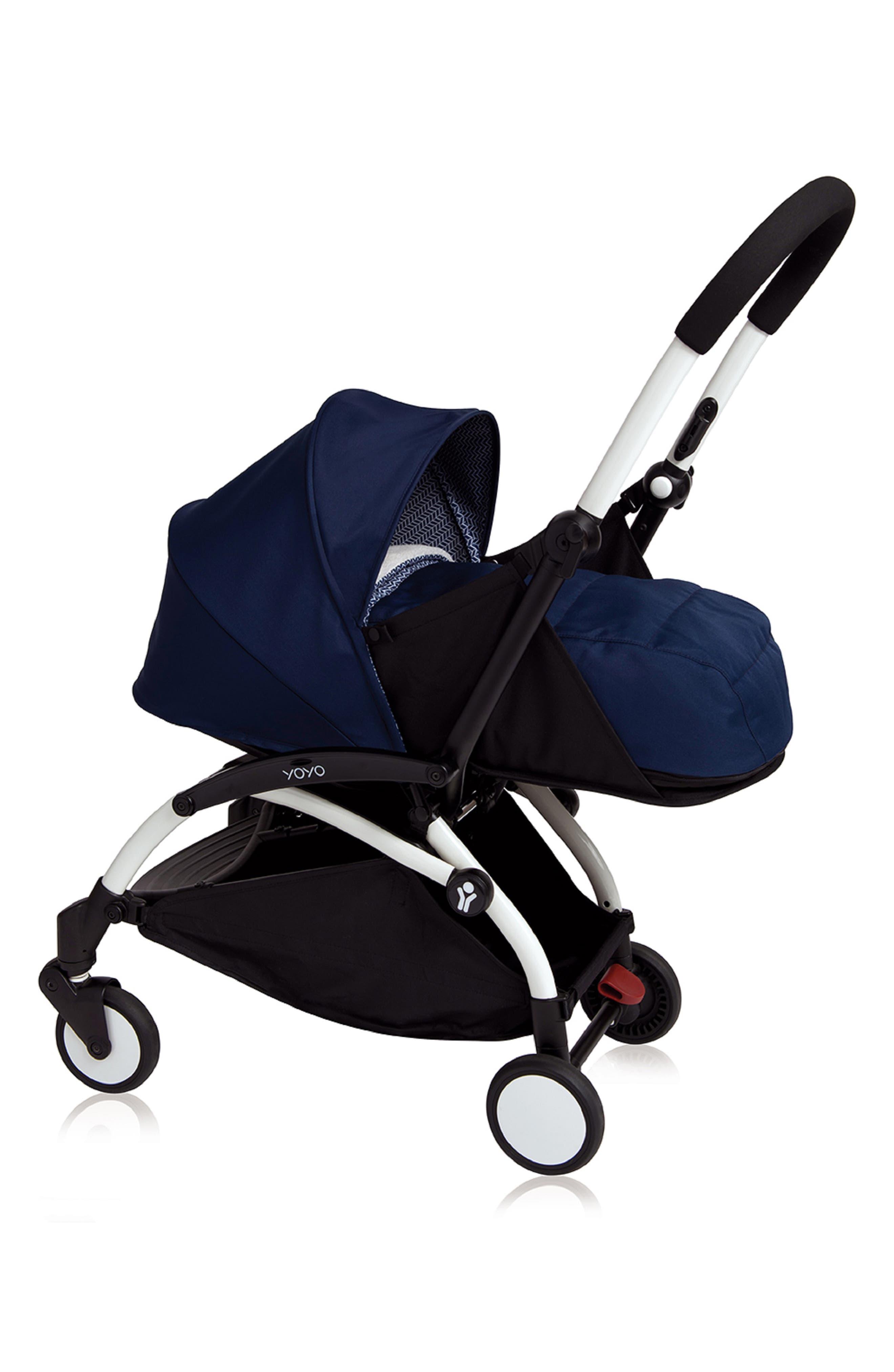 YOYO+ Newborn Stroller Frame,                             Main thumbnail 1, color,                             WHITE/ AIR FRANCE NAVY