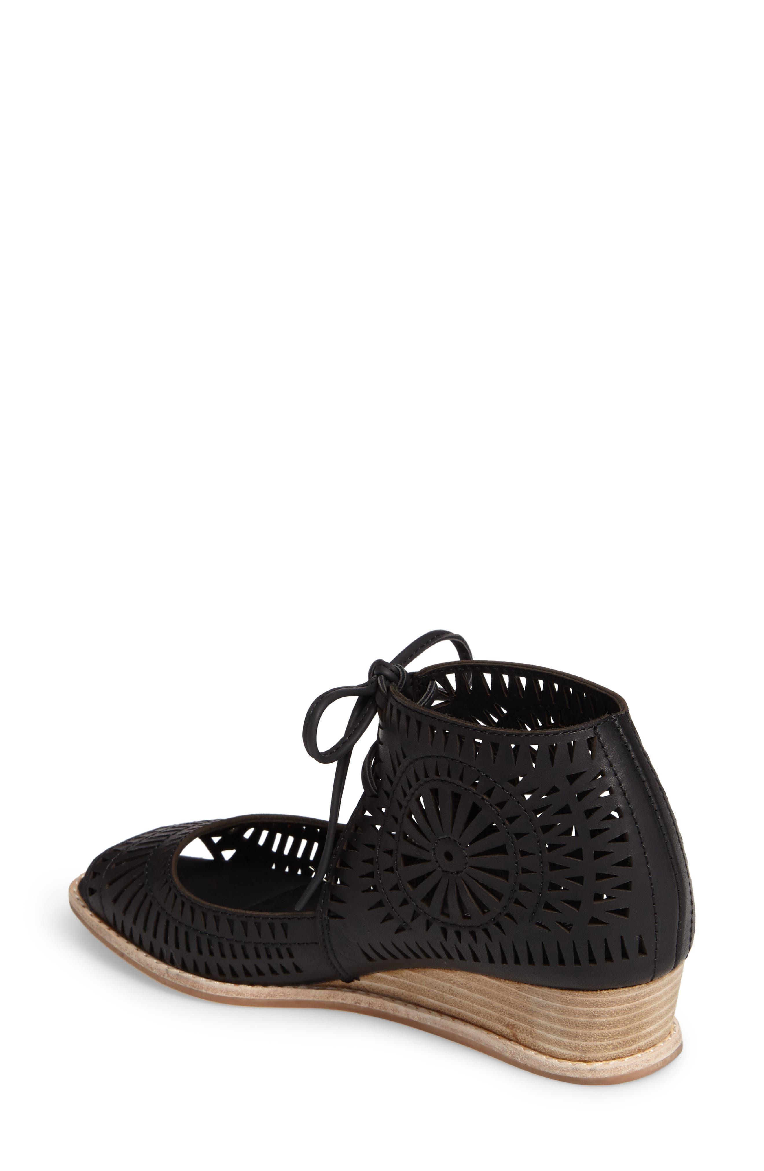 Rayos Perforated Wedge Sandal,                             Alternate thumbnail 2, color,                             001