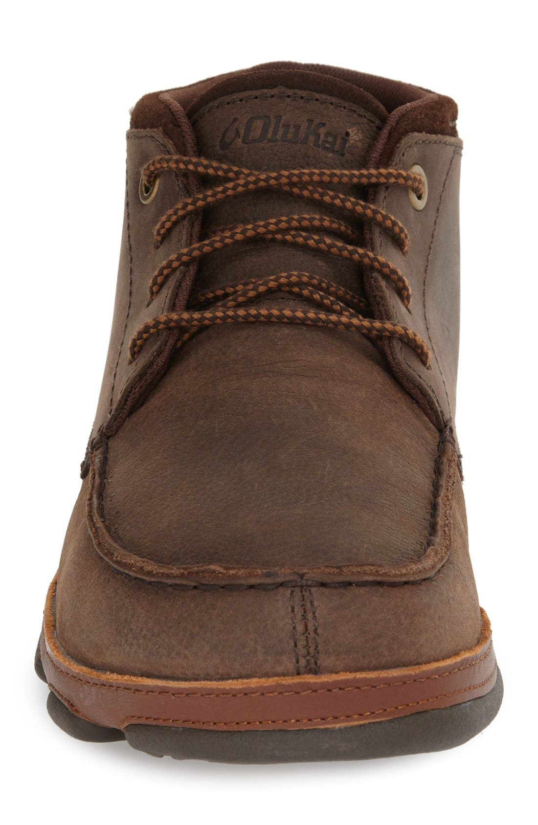 'Hamakua' Moc Toe Boot,                             Alternate thumbnail 3, color,                             DARK WOOD/ TOFFEE LEATHER