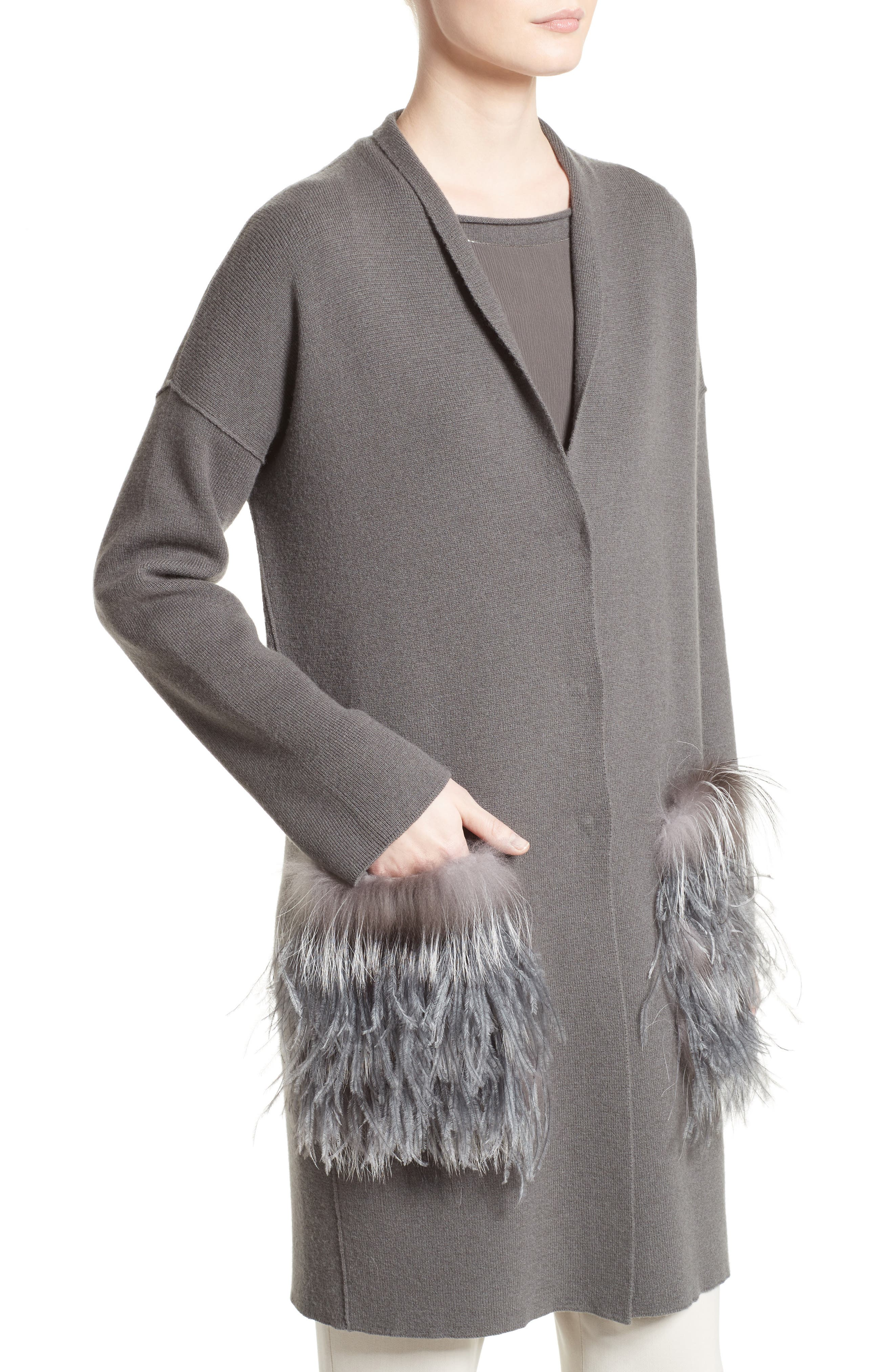 Wool, Silk & Cashmere Cardigan with Genuine Fox Fur & Ostrich Feather Trim,                             Alternate thumbnail 4, color,                             021