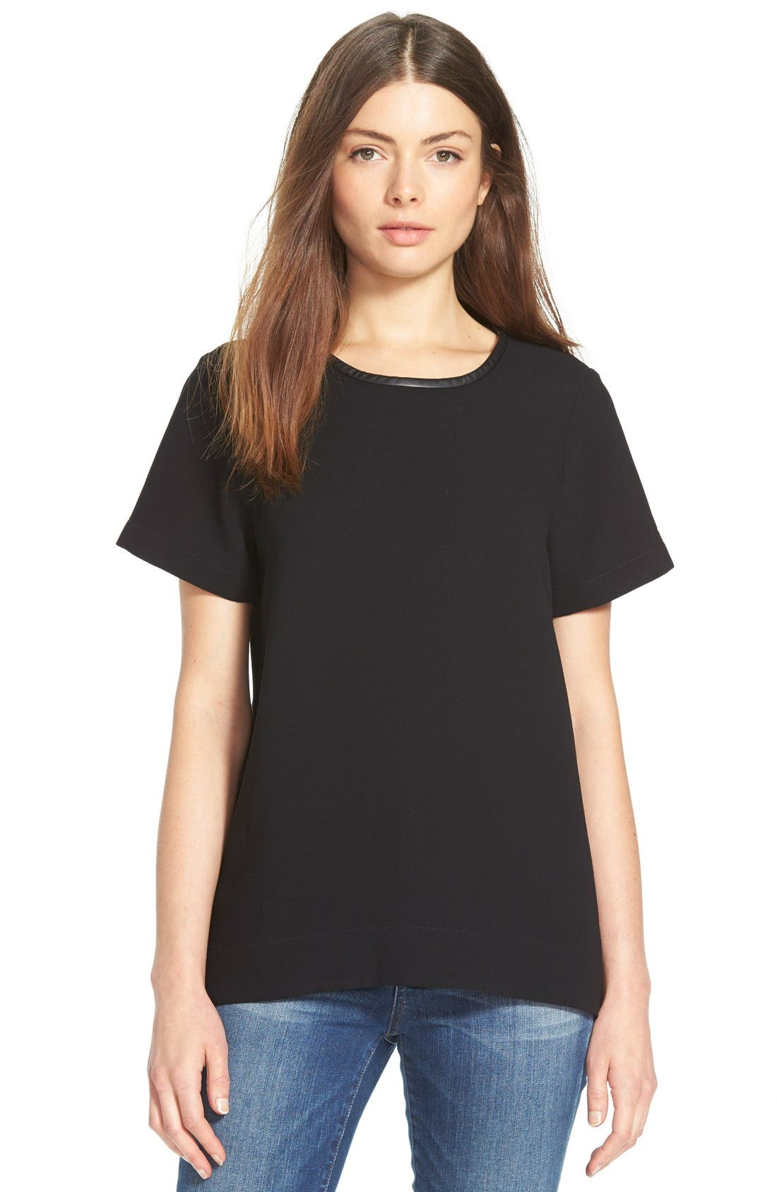Leather Trim Tailored Tee,                             Main thumbnail 1, color,                             001
