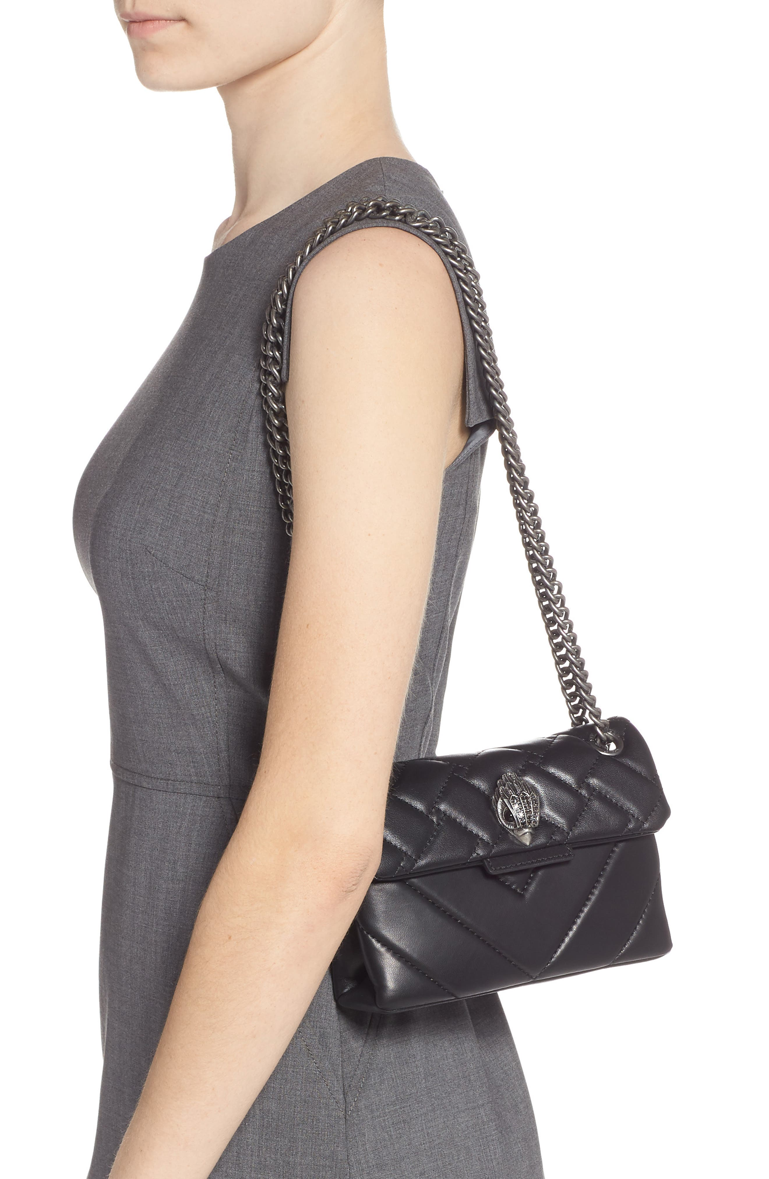 Mini Kensington Quilted Leather Crossbody Bag - Black