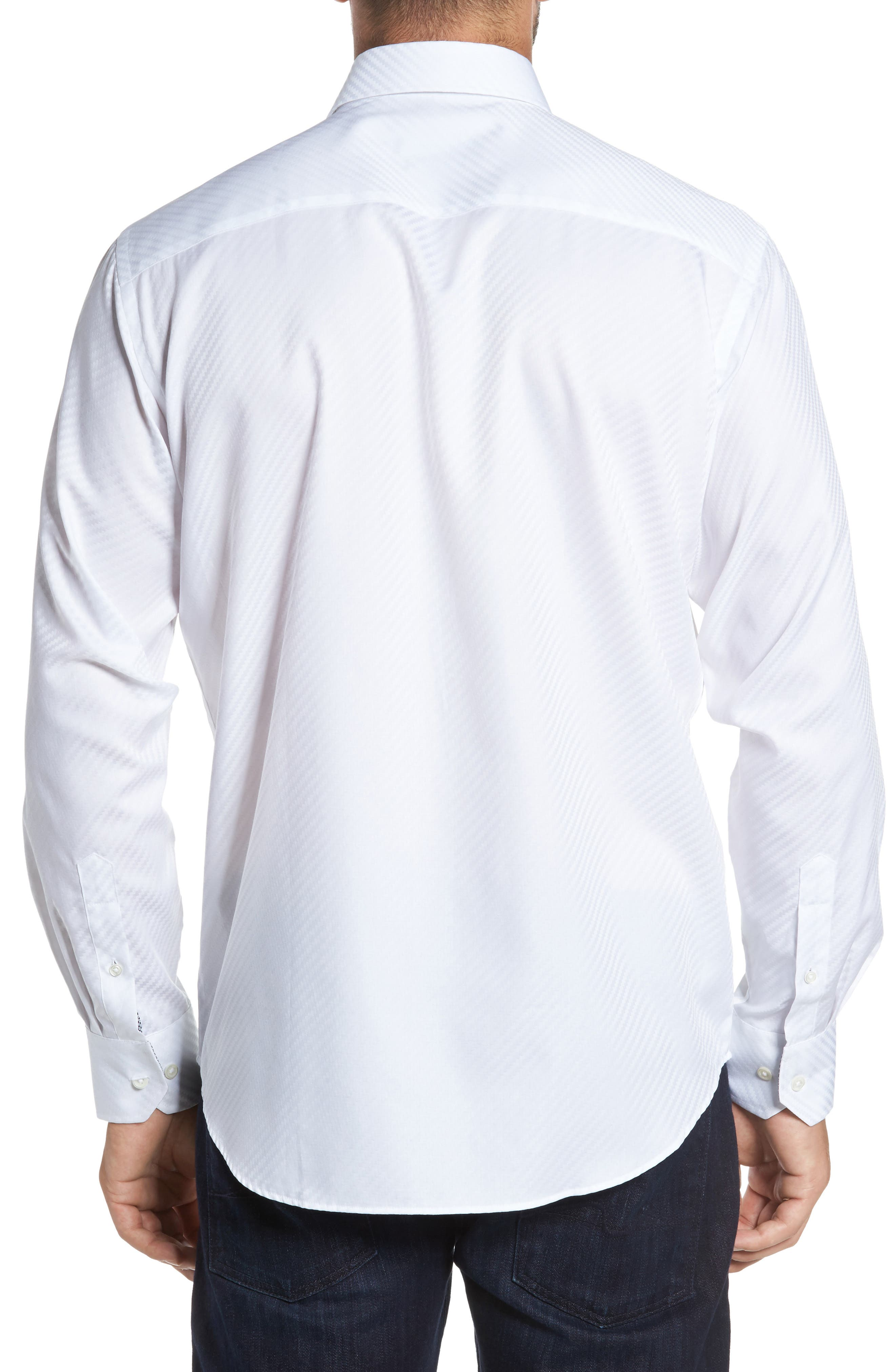 Classic Fit Diagonal Jacquard Sport Shirt,                             Alternate thumbnail 2, color,                             100