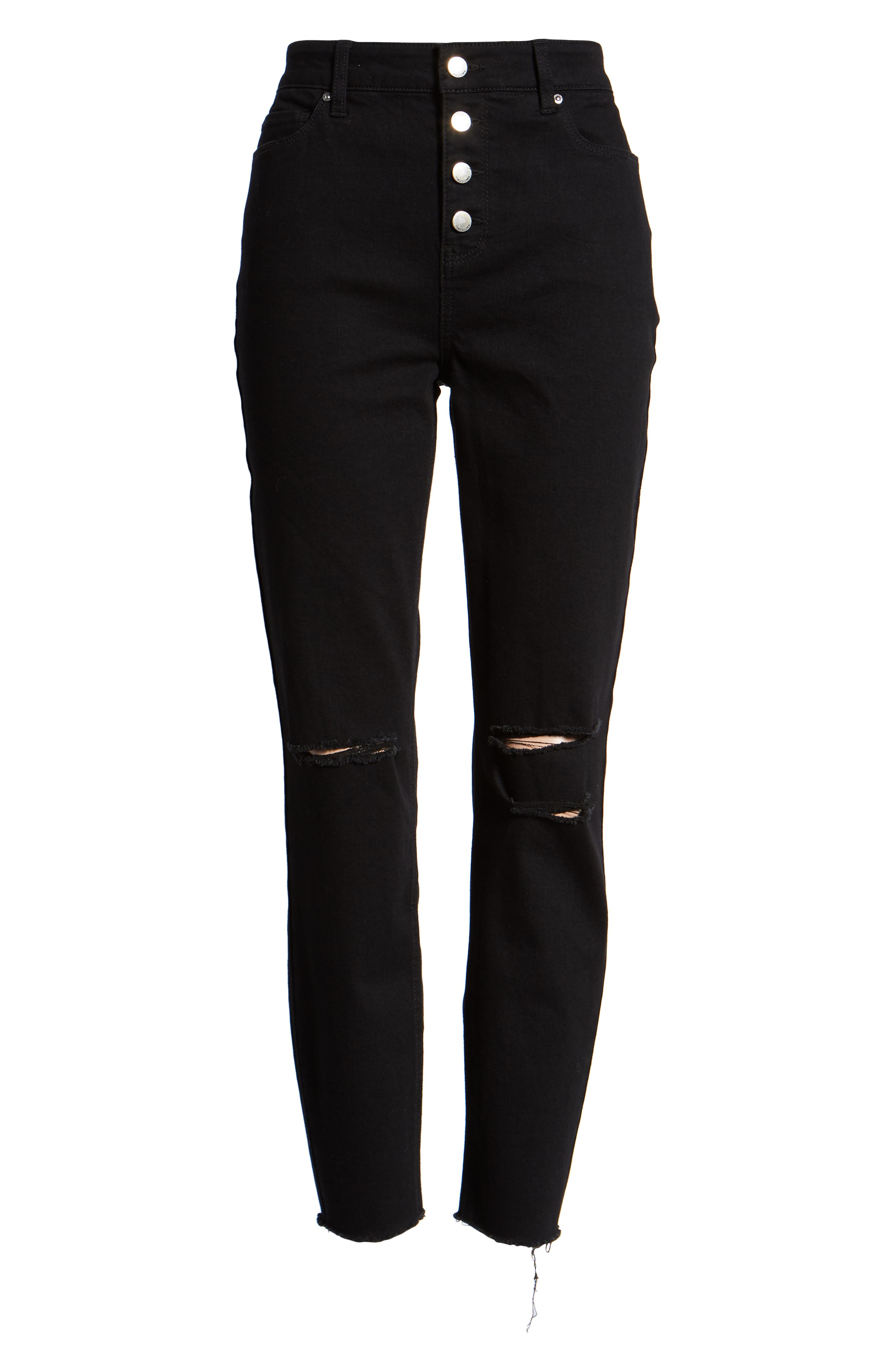 Ripped High Waist Ankle Skinny Jeans,                             Alternate thumbnail 7, color,                             BLACK RINSE