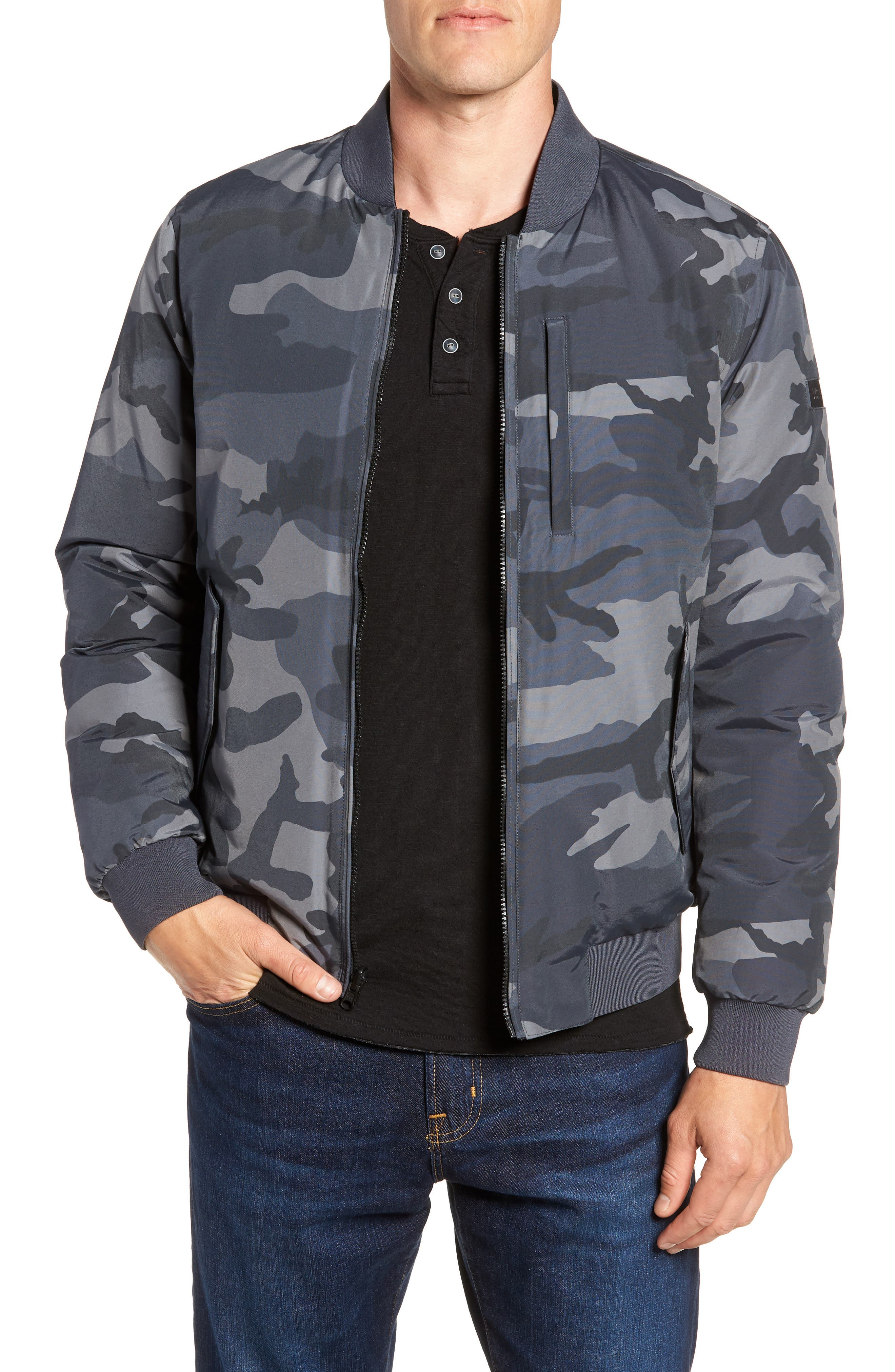 Reversible Camo Down Bomber Jacket,                         Main,                         color, GREY CAMOU
