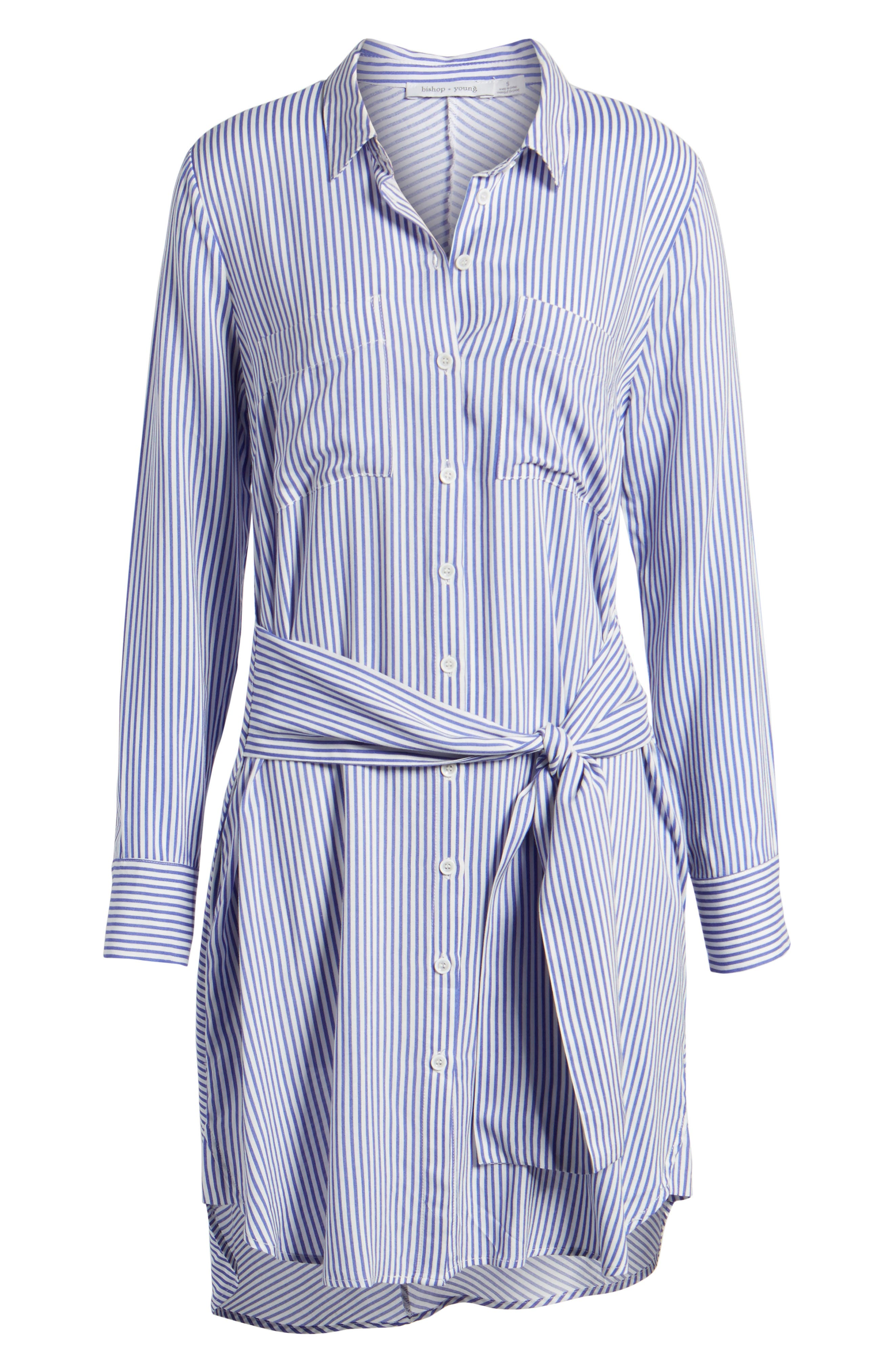 Bishop + Young Stripe Tie Waist Shirtdress,                             Alternate thumbnail 6, color,                             400