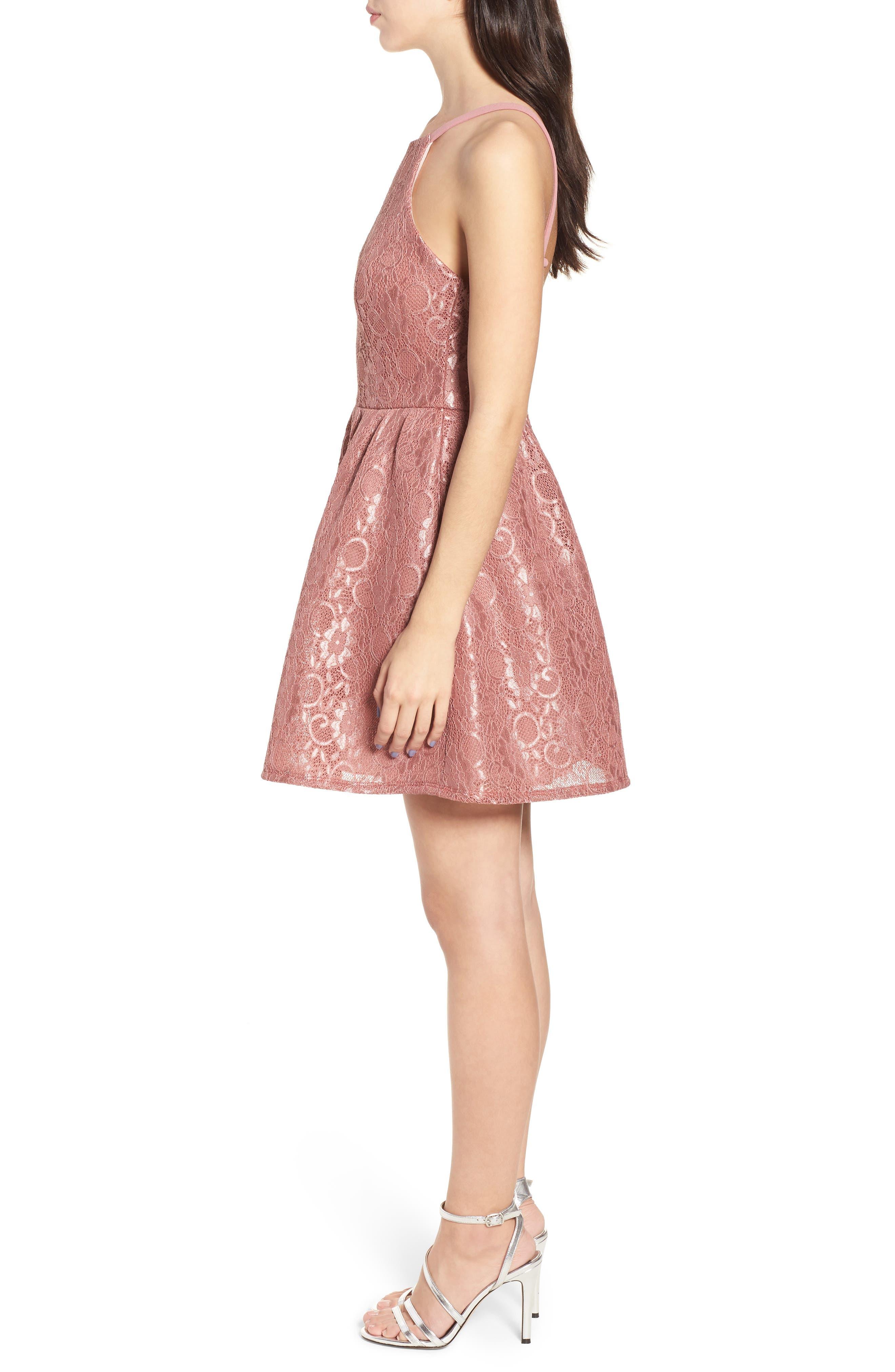 Lace Halter Low Back Party Dress,                             Alternate thumbnail 3, color,                             NEW MAUVE