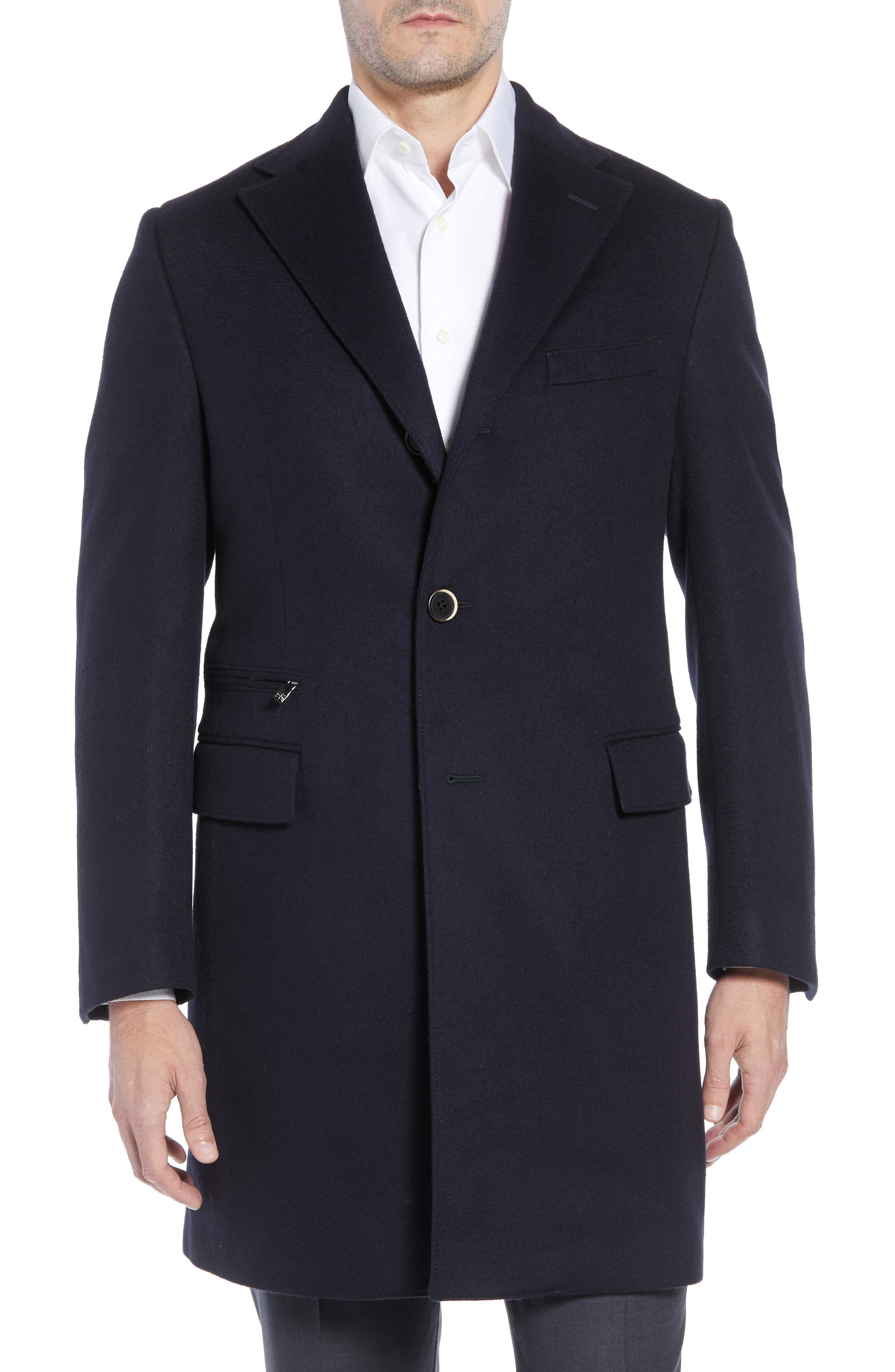 Solid Wool Topcoat,                             Alternate thumbnail 4, color,                             NAVY