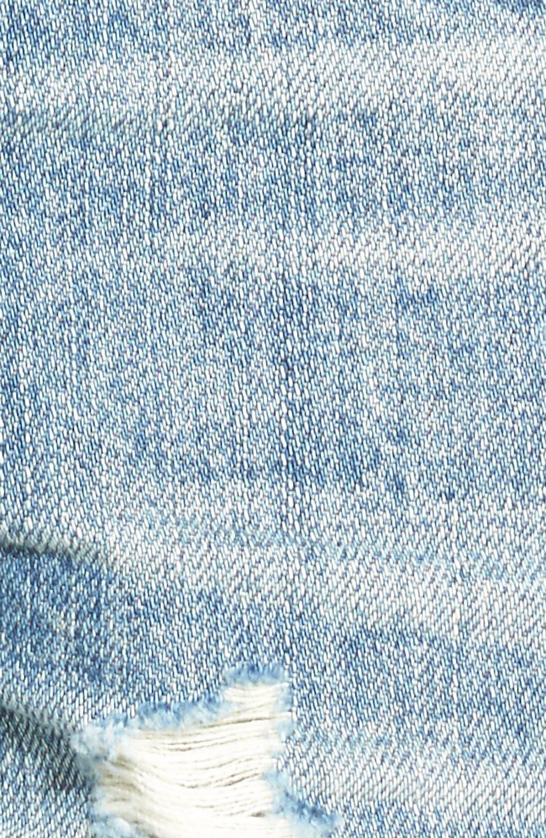 Cuffed Distressed Denim Shorts,                             Alternate thumbnail 4, color,                             400