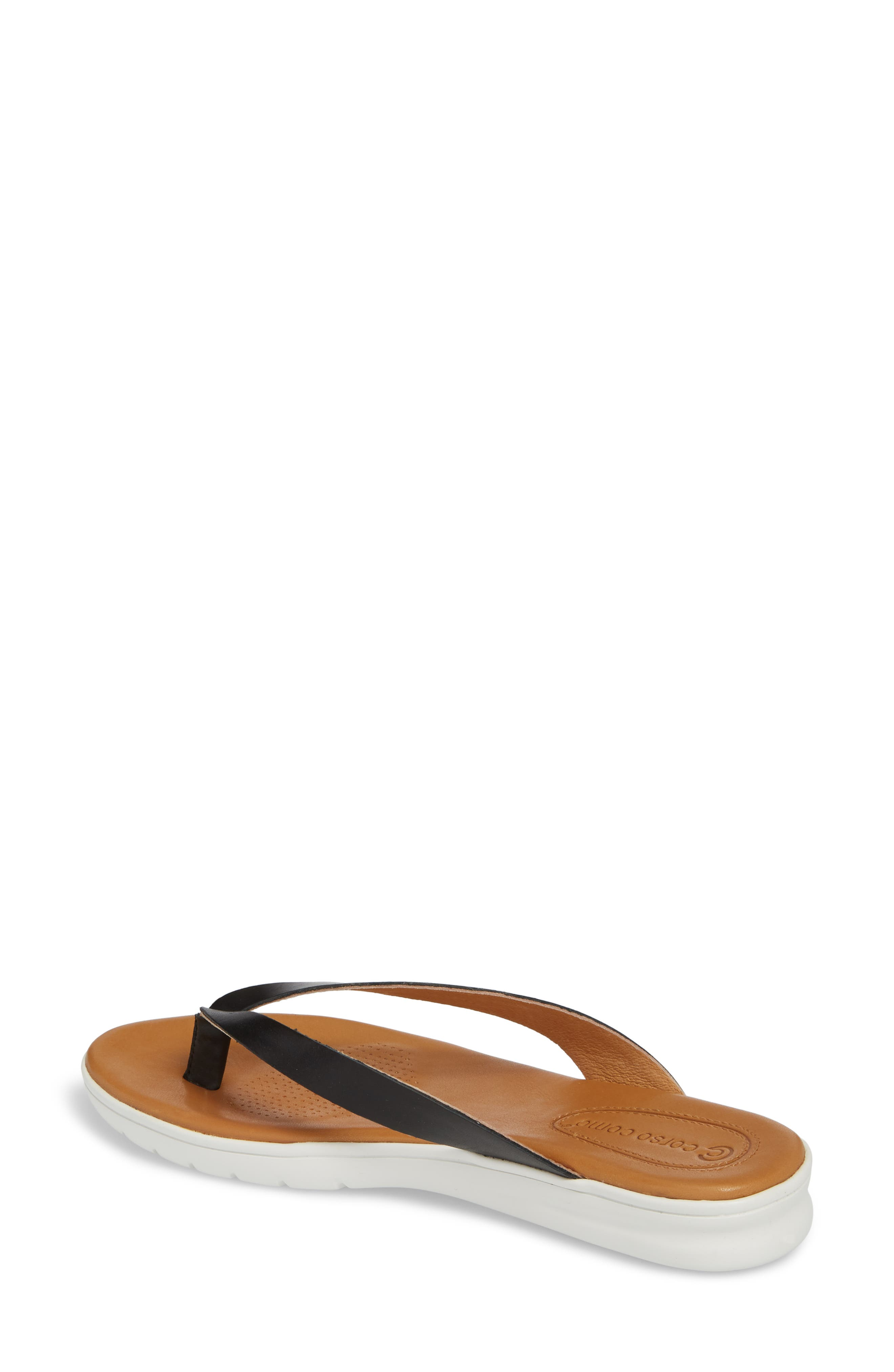 Tinnah Flip Flop,                             Alternate thumbnail 2, color,                             BLACK/ BLACK LEATHER