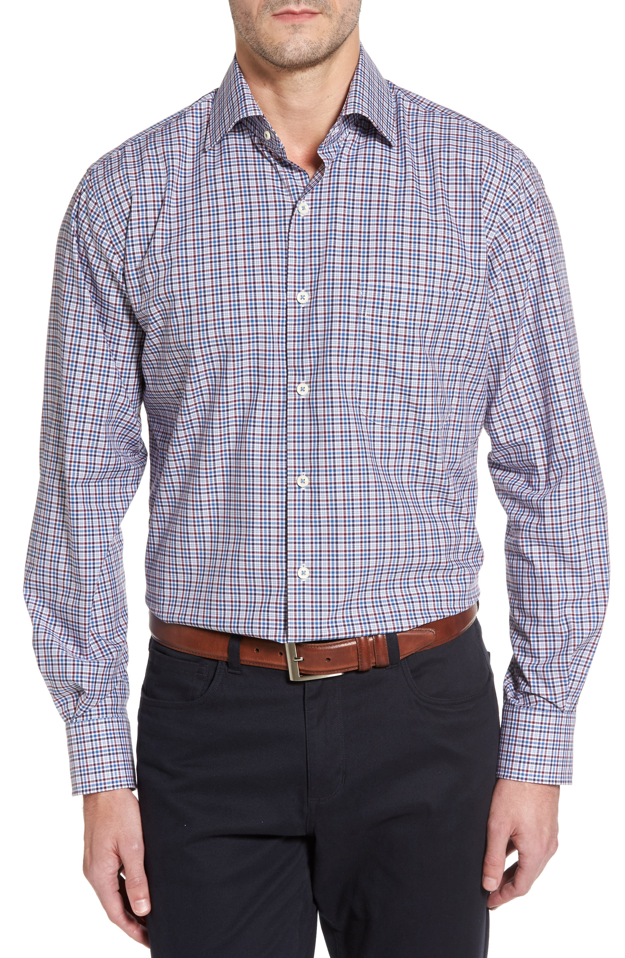 Crown Finish Vine Check Regular Fit Sport Shirt,                             Main thumbnail 1, color,