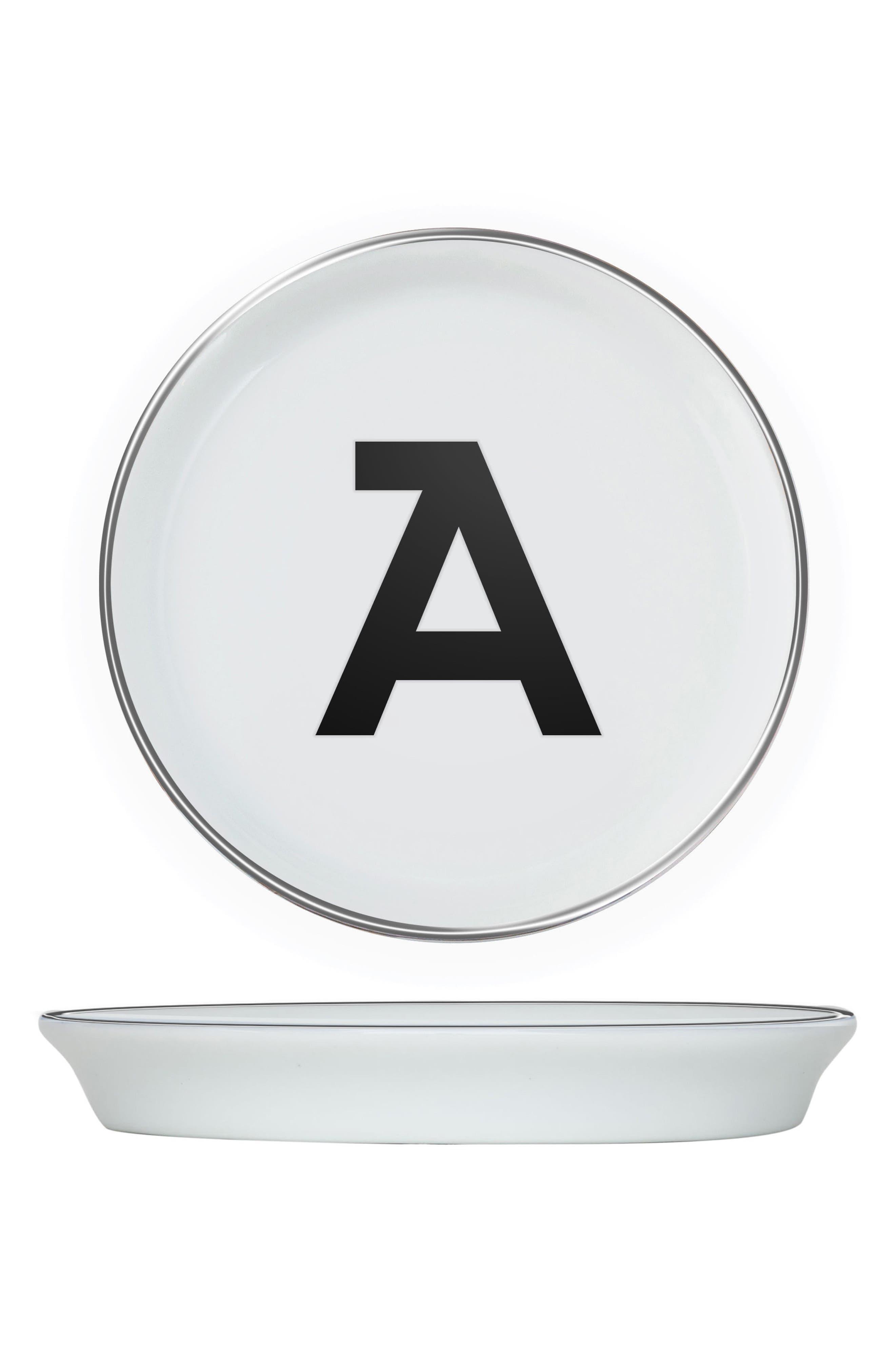 Brooklyn Set of 4 Porcelain Initial Coasters,                             Main thumbnail 1, color,                             A
